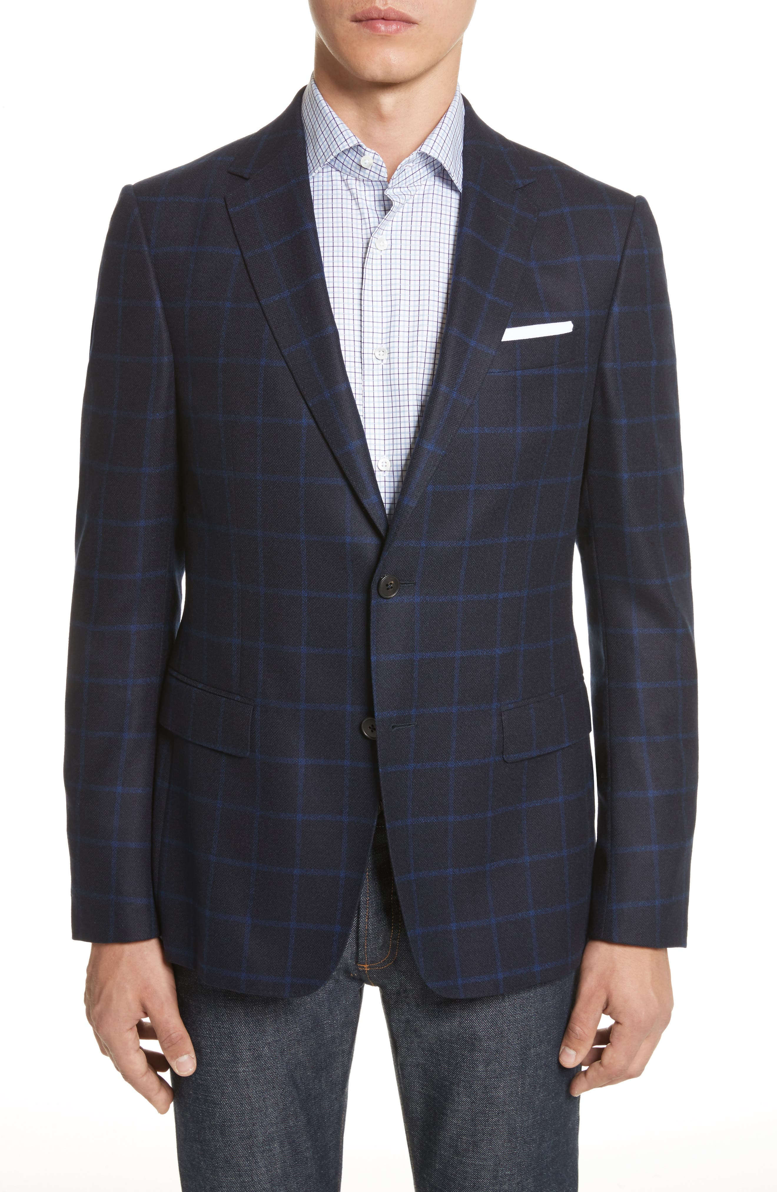 Classic Fit Check Wool Sport Coat,                         Main,                         color, Navy Check