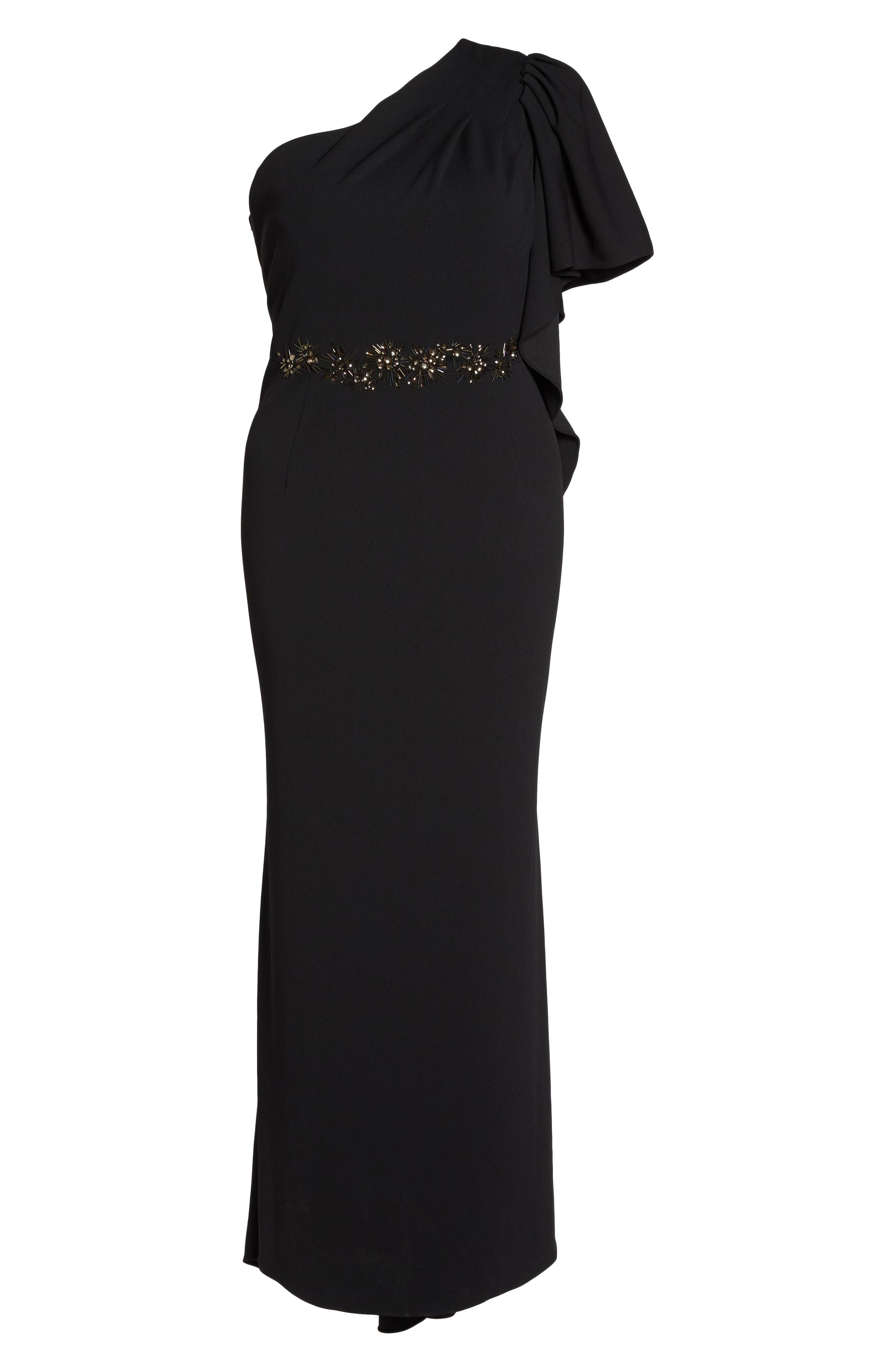 Alternate Image 6  - Adrianna Papell Crepe One-Shoulder Gown (Plus Size)