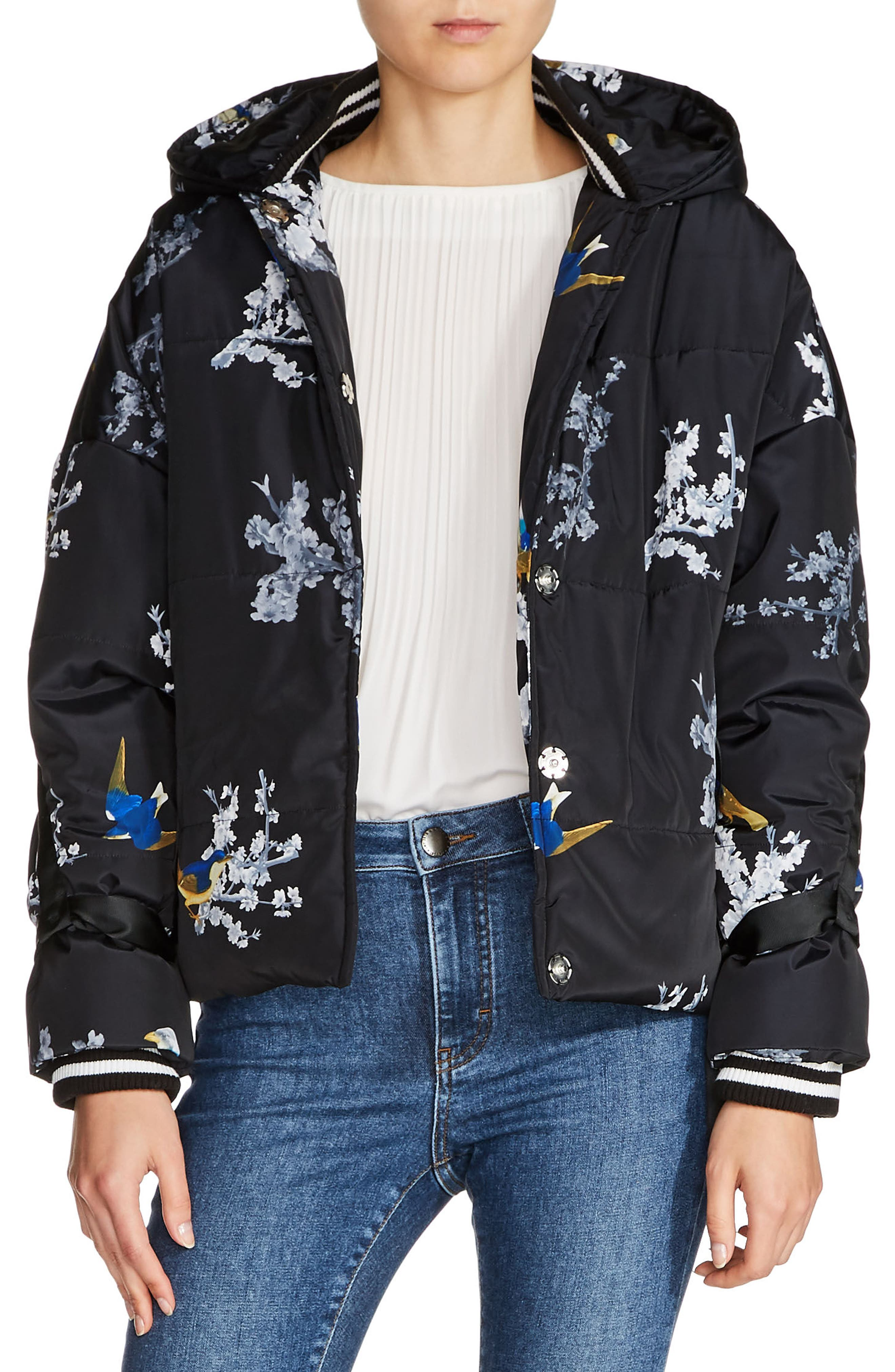 Hooded Print Jacket,                         Main,                         color, Blue