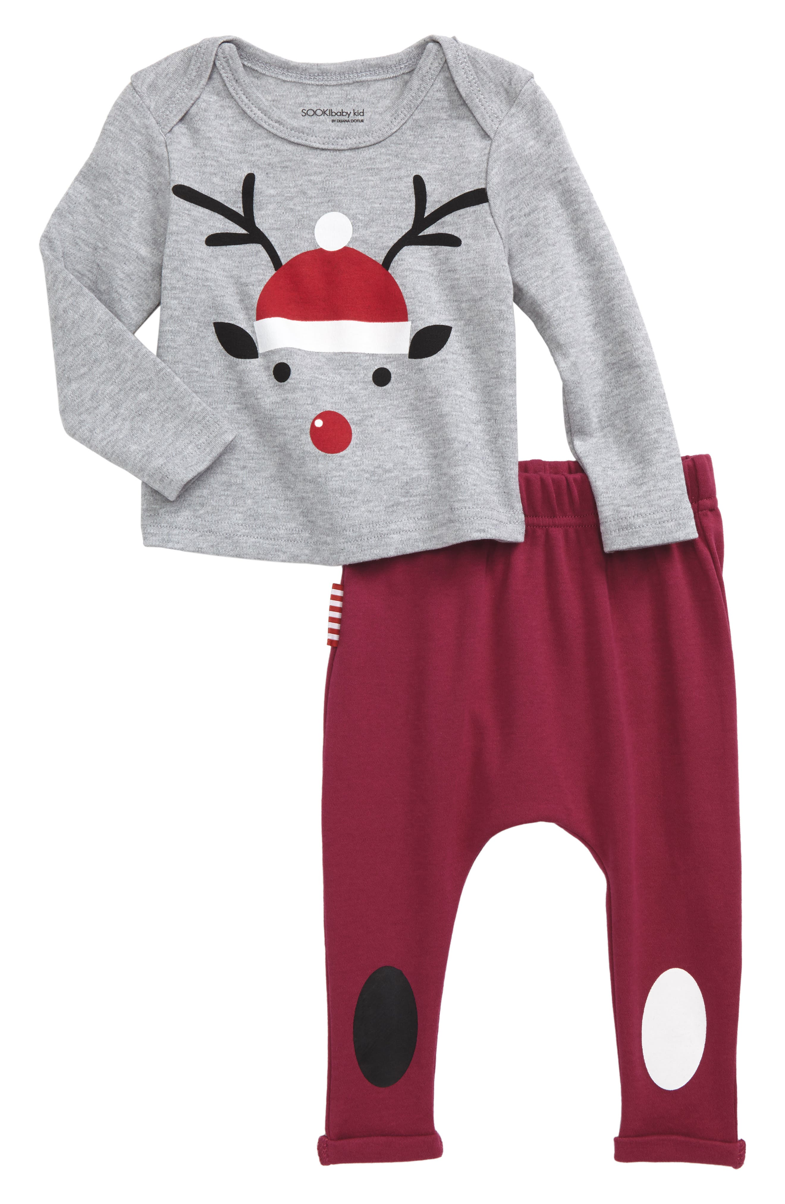 Alternate Image 1 Selected - SOOKIbaby Christmas T-Shirt & Jogger Pants Set (Baby)