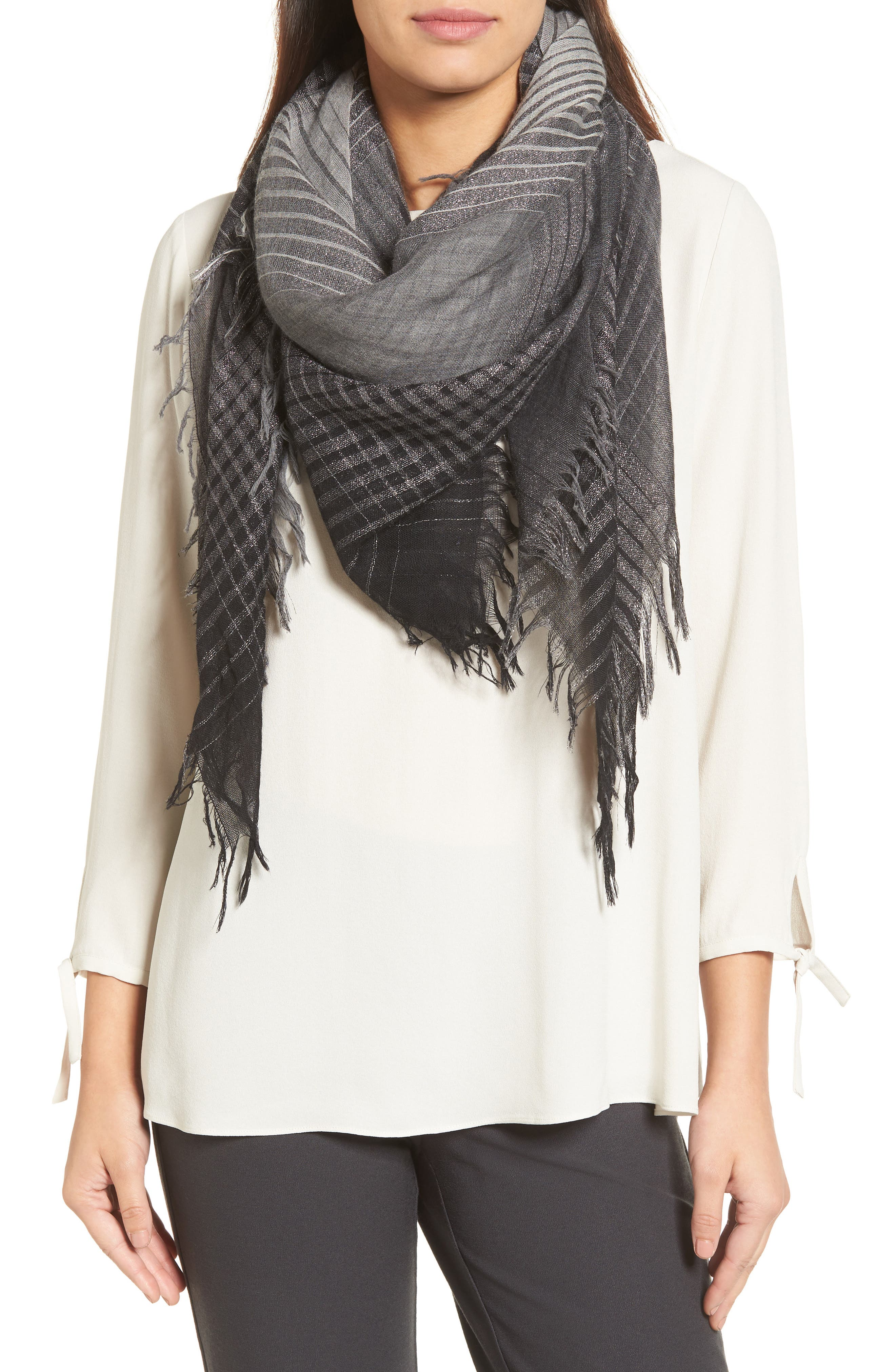 Eileen Fisher Sparkle Check Wool Blend Scarf