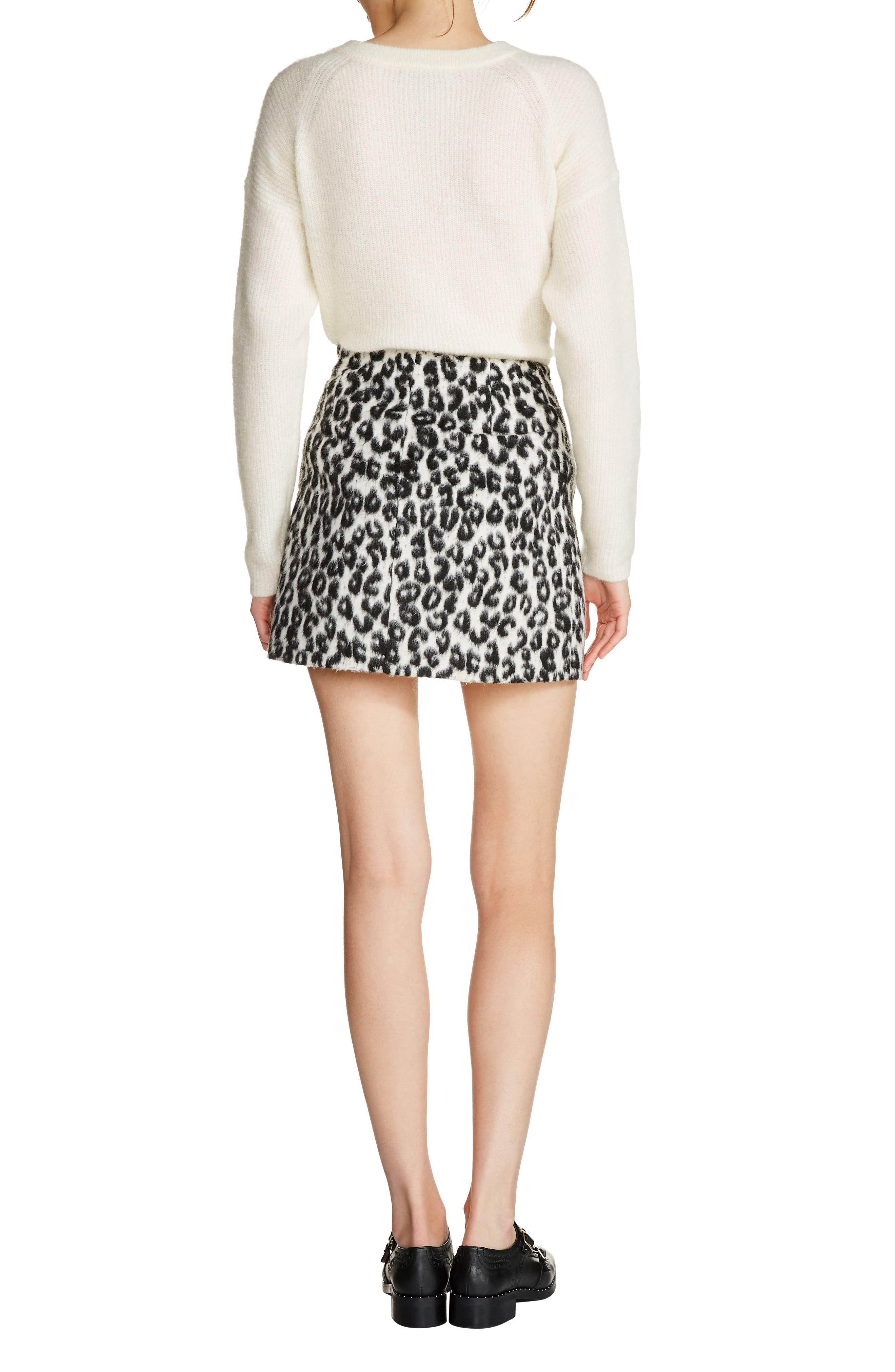 Brushed Leopard Print Miniskirt,                             Alternate thumbnail 2, color,                             White