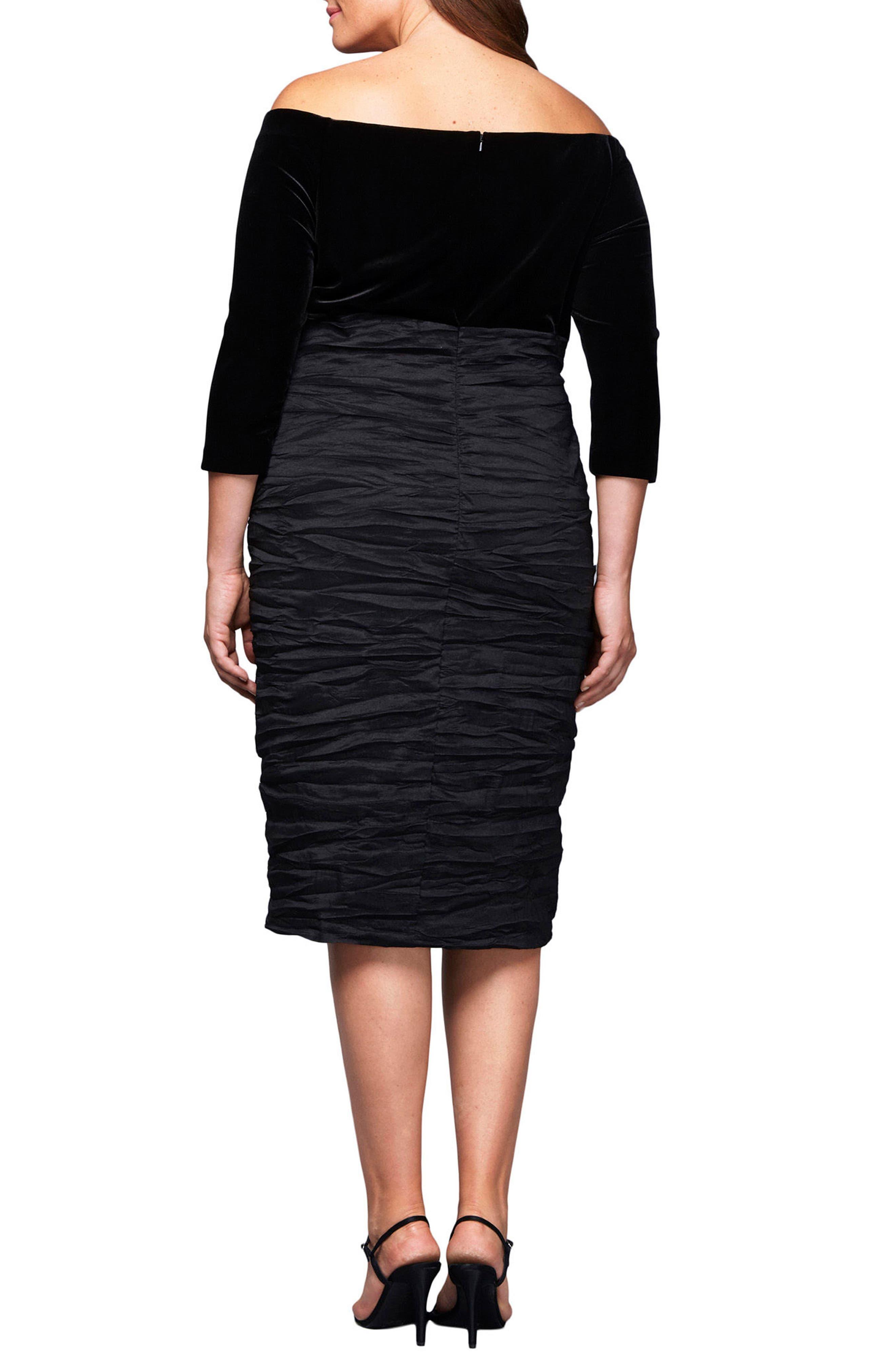 Alternate Image 2  - Alex Evenings Velvet Bodice Sheath Dress (Plus Size)