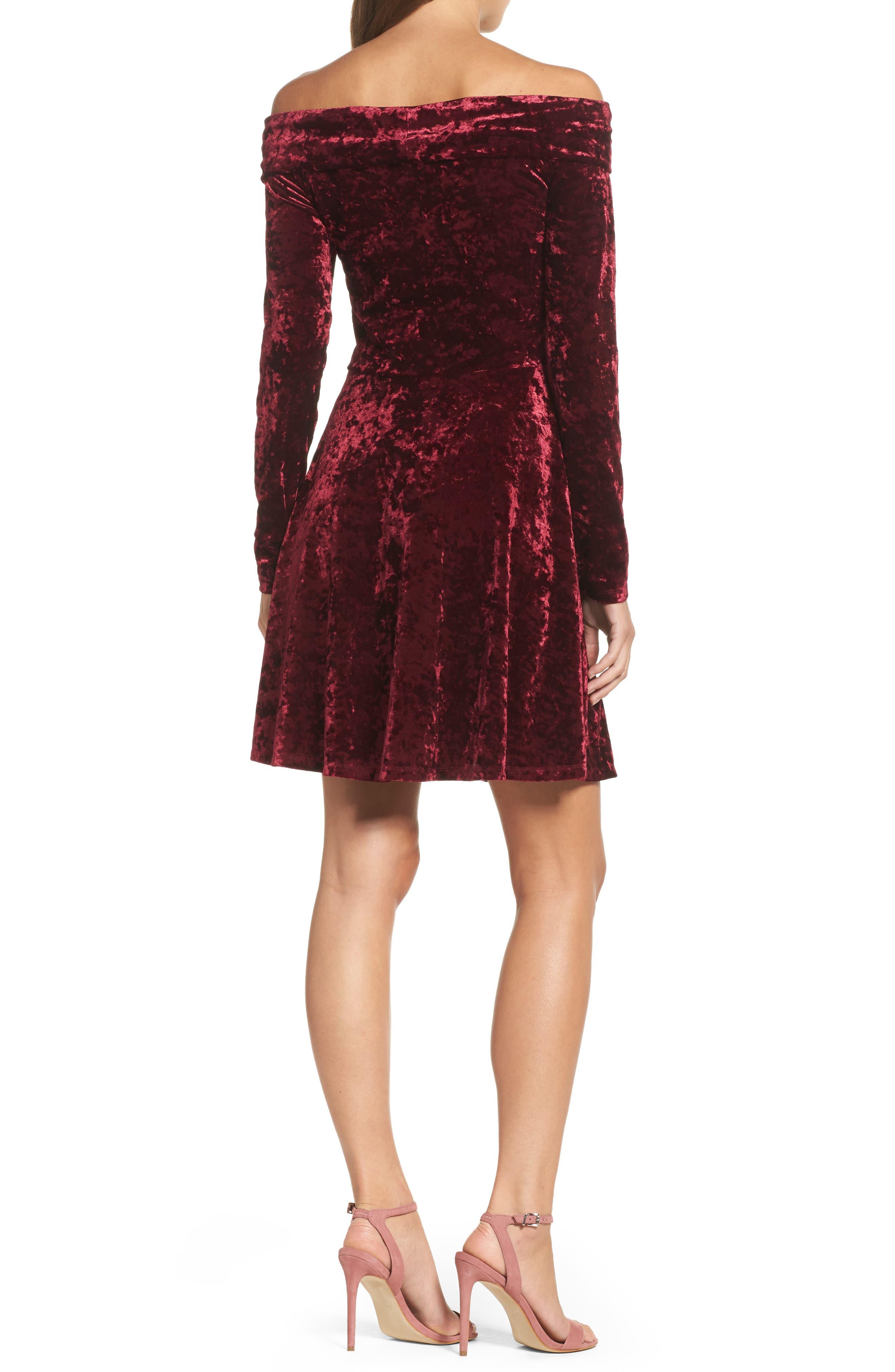 Off the Shoulder Velvet A-Line Dress,                             Alternate thumbnail 2, color,                             Burgundy Fig