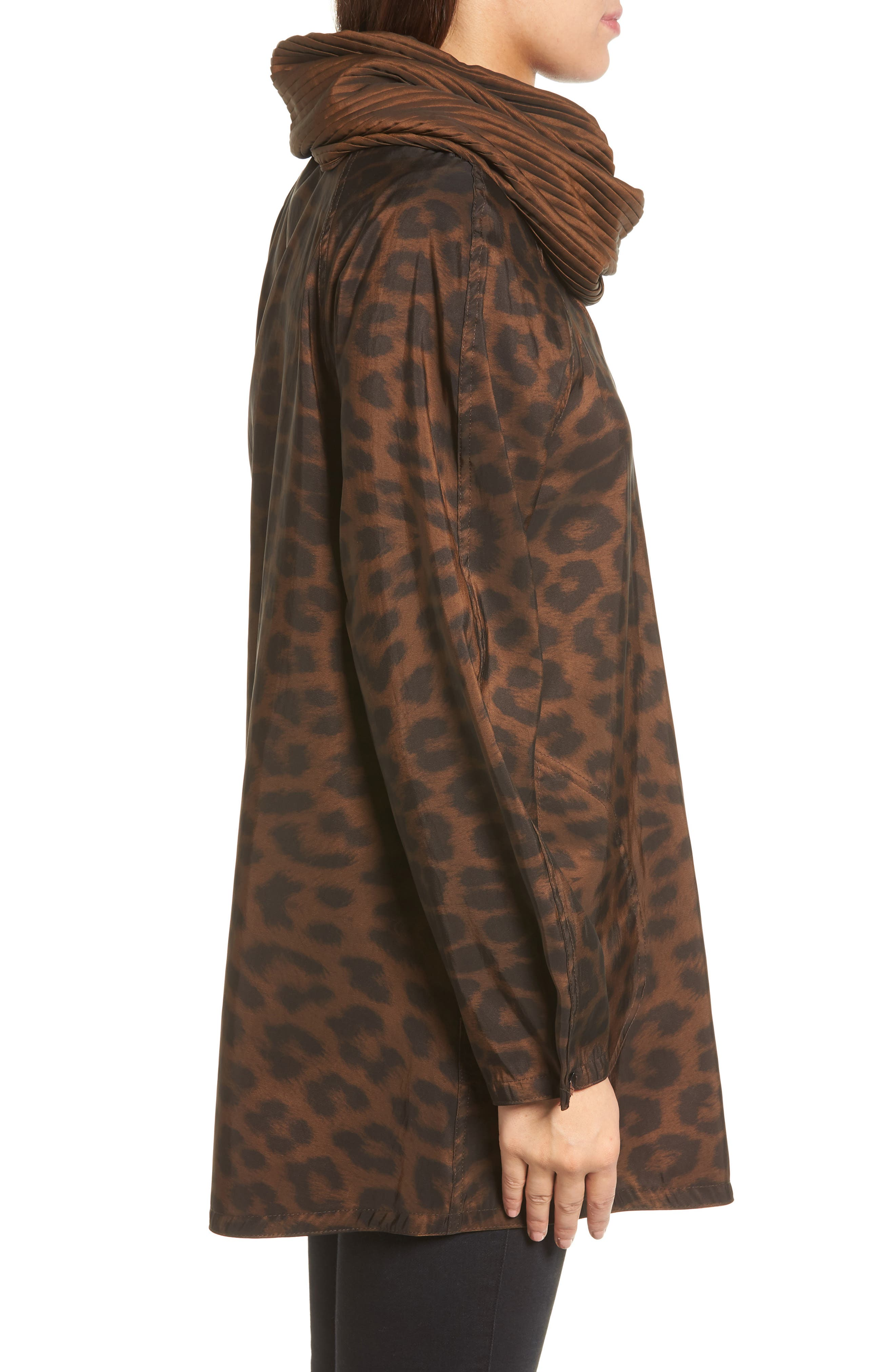 'Mini Donatella Leopard' Reversible Pleat Hood Packable Travel Coat,                             Alternate thumbnail 4, color,                             New Leopard