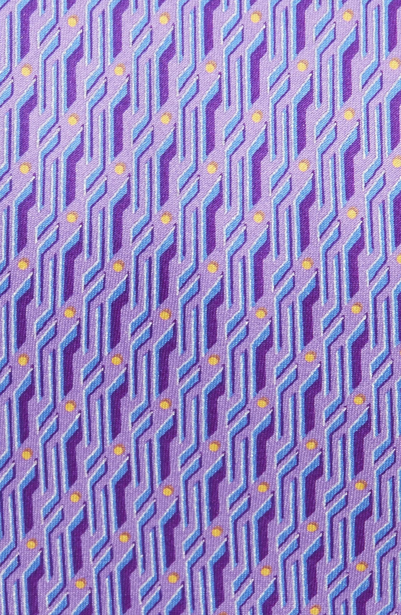 Geometric Silk Tie,                             Alternate thumbnail 2, color,                             Light Purple