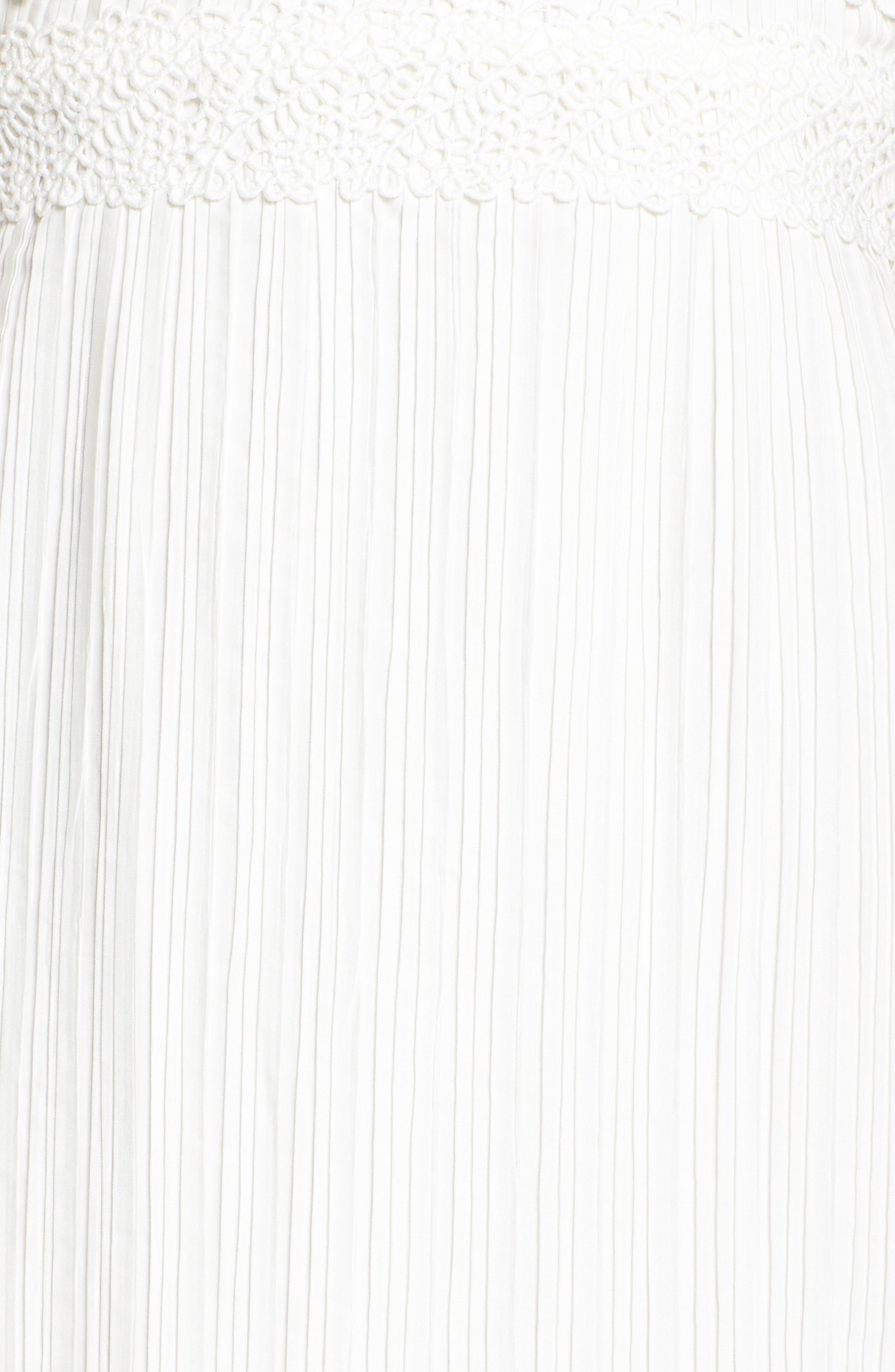 Jasmine Lace Inset Pleated Dress,                             Alternate thumbnail 5, color,                             Ivory