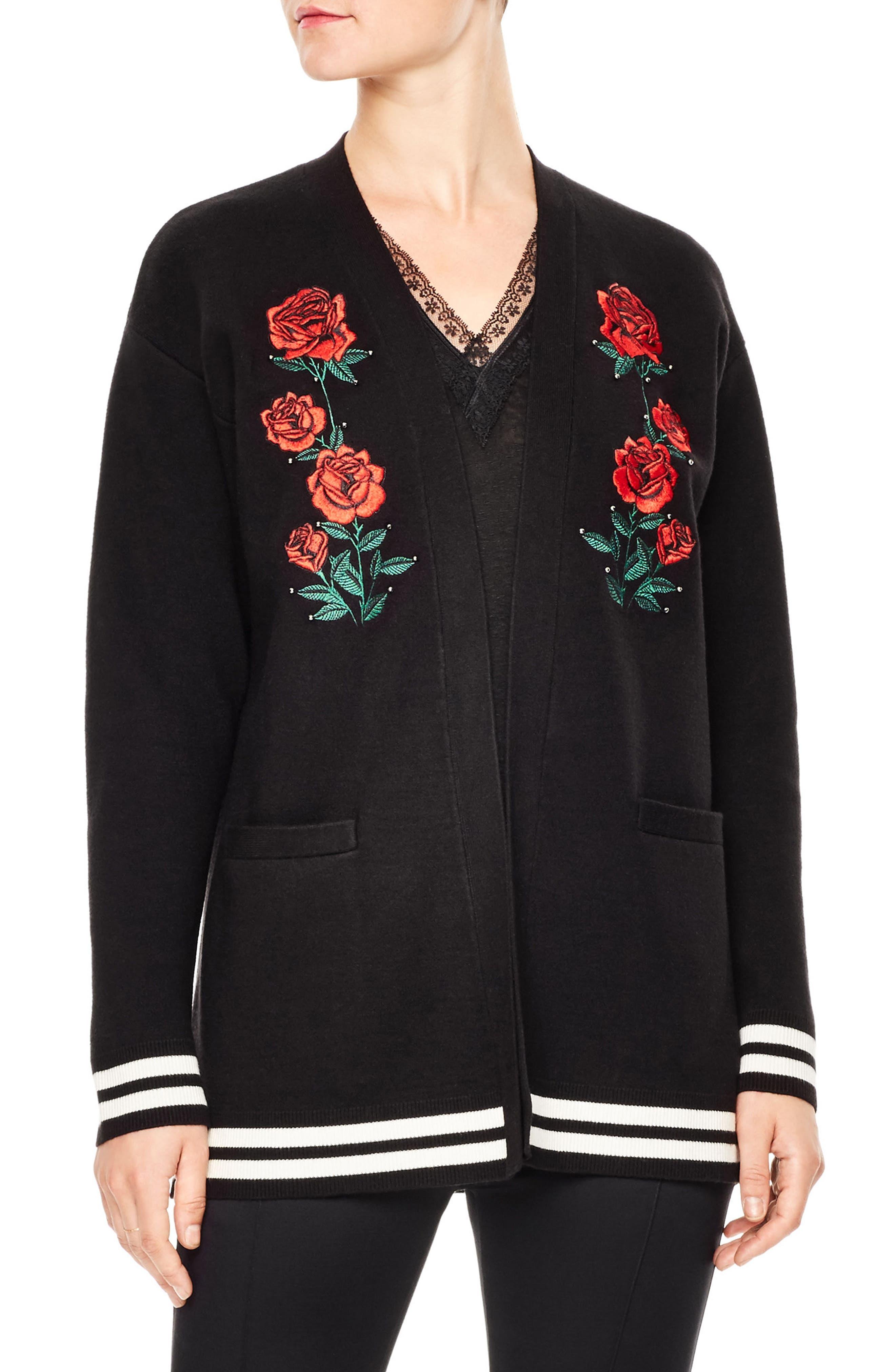Gorka Embroidered Cardigan,                         Main,                         color, Black