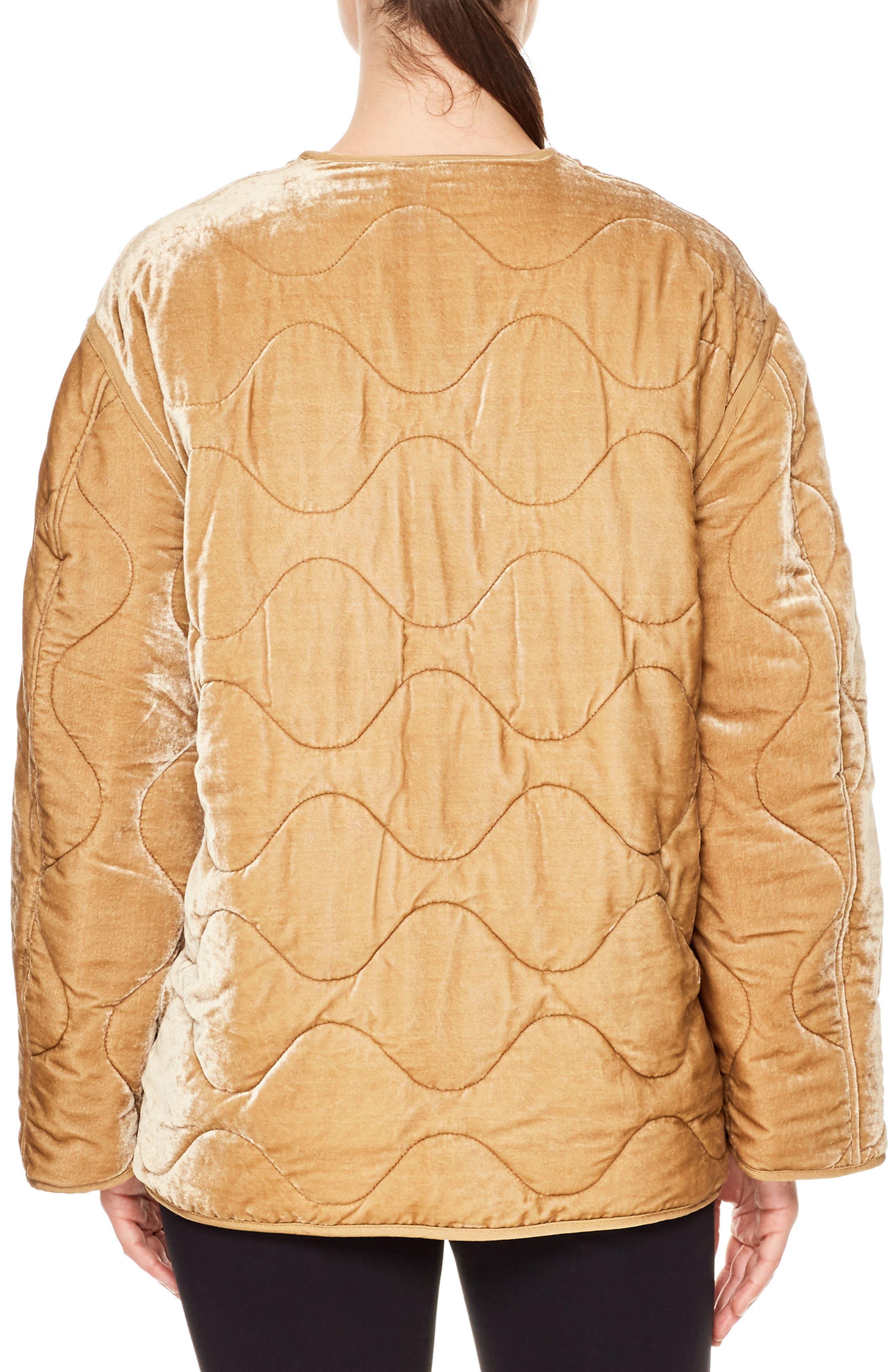 Reva Quilted Velvet Jacket,                             Alternate thumbnail 2, color,                             Beige