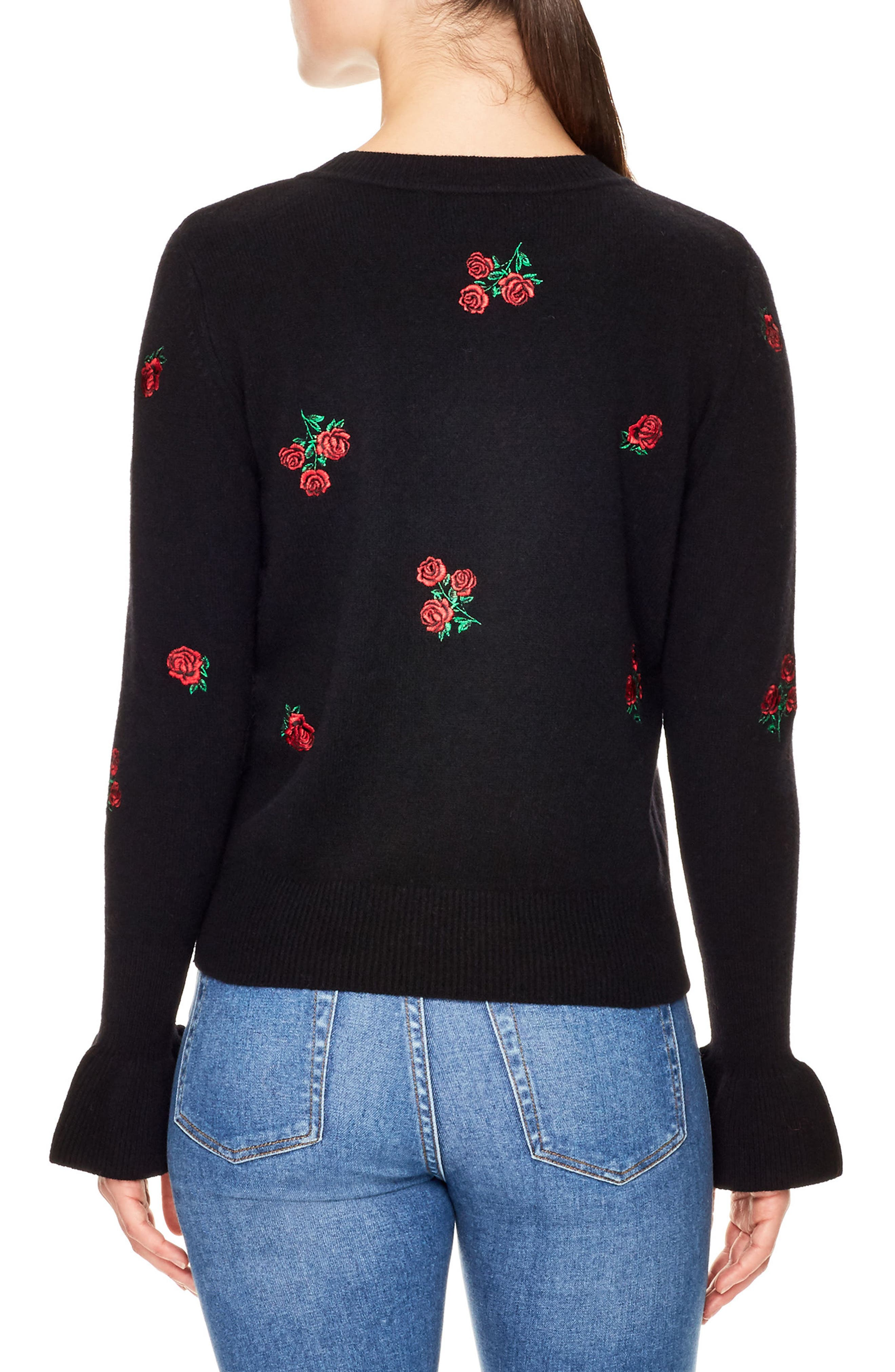 Ingrid Embroidered Wool Sweater,                             Alternate thumbnail 2, color,                             Black
