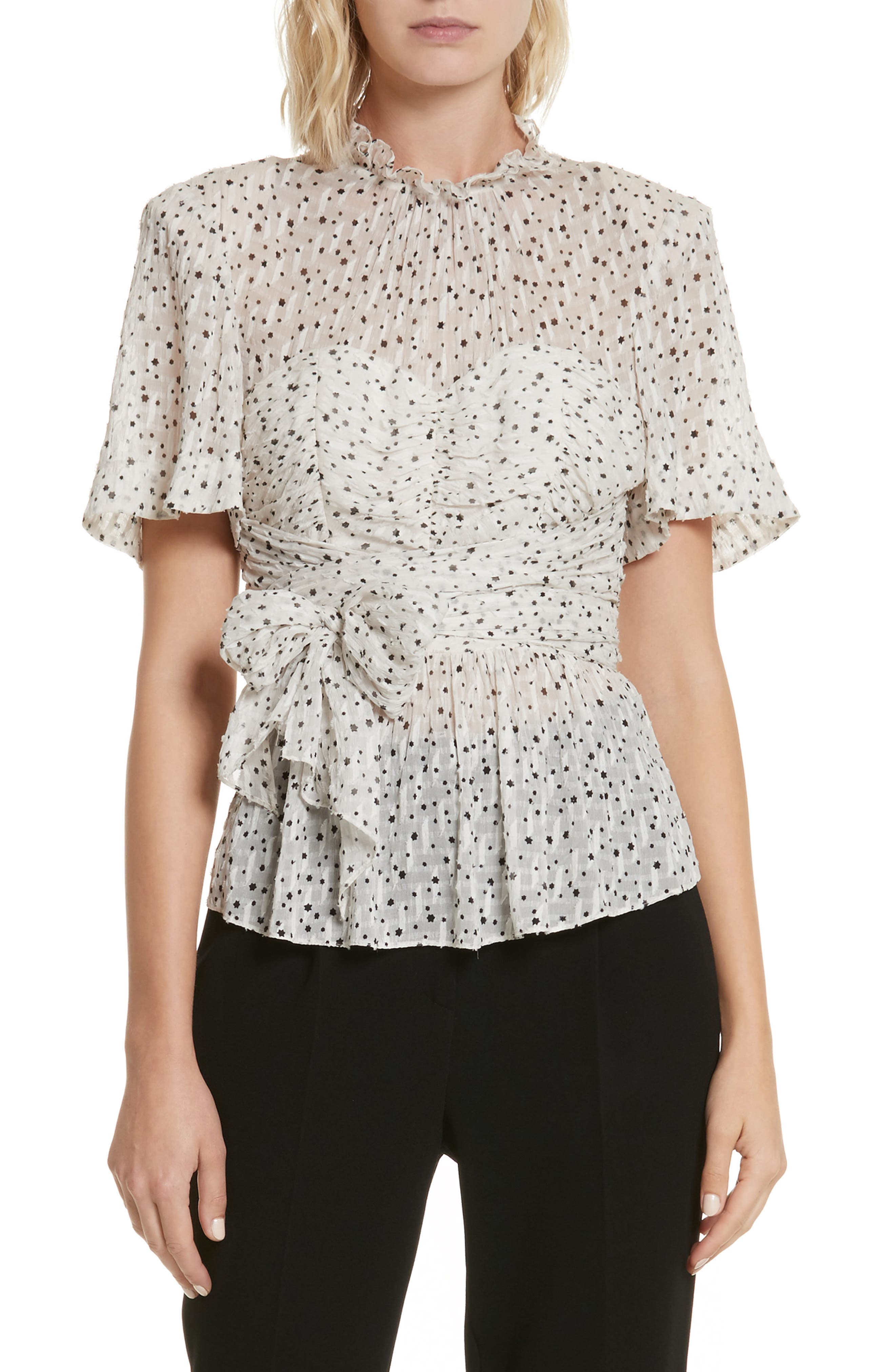 Alternate Image 1 Selected - Rebecca Taylor Star Tie Silk Blend Blouse