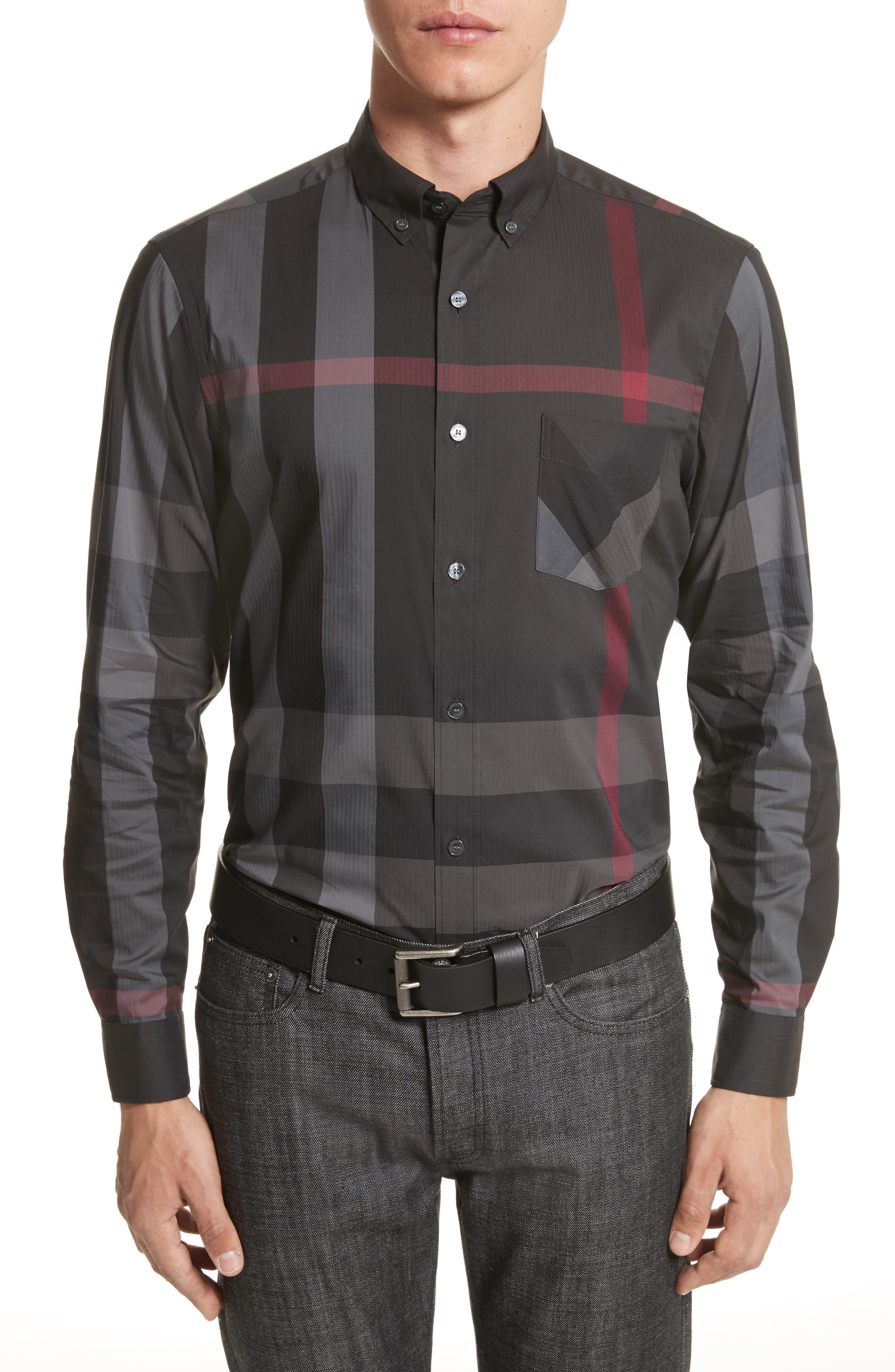 Thornaby Slim Fit Plaid Sportshirt,                         Main,                         color, Charcoal