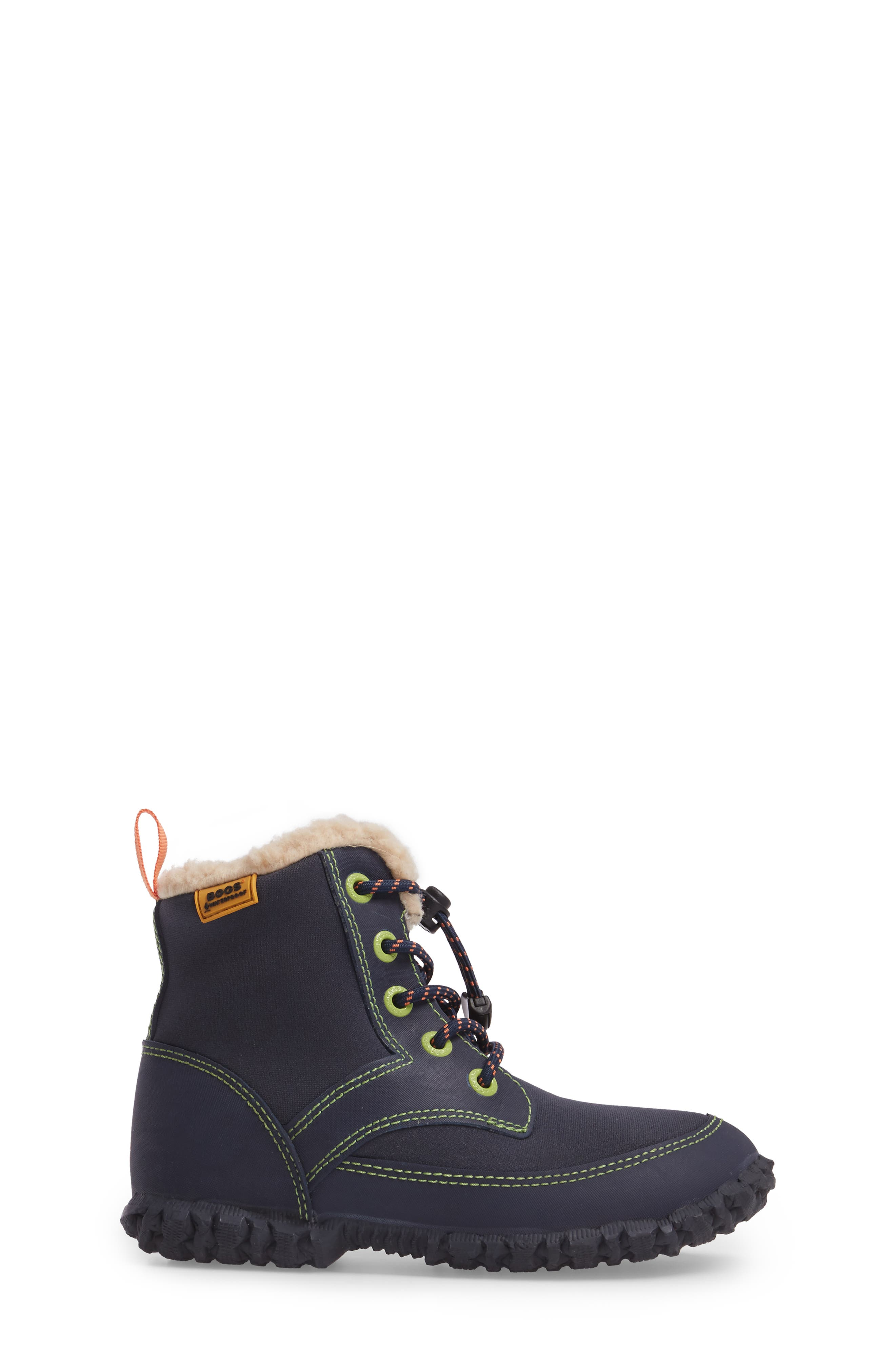 Skyler Faux Fur Insulated Waterproof Boot,                             Alternate thumbnail 3, color,                             Dark Blue Multi