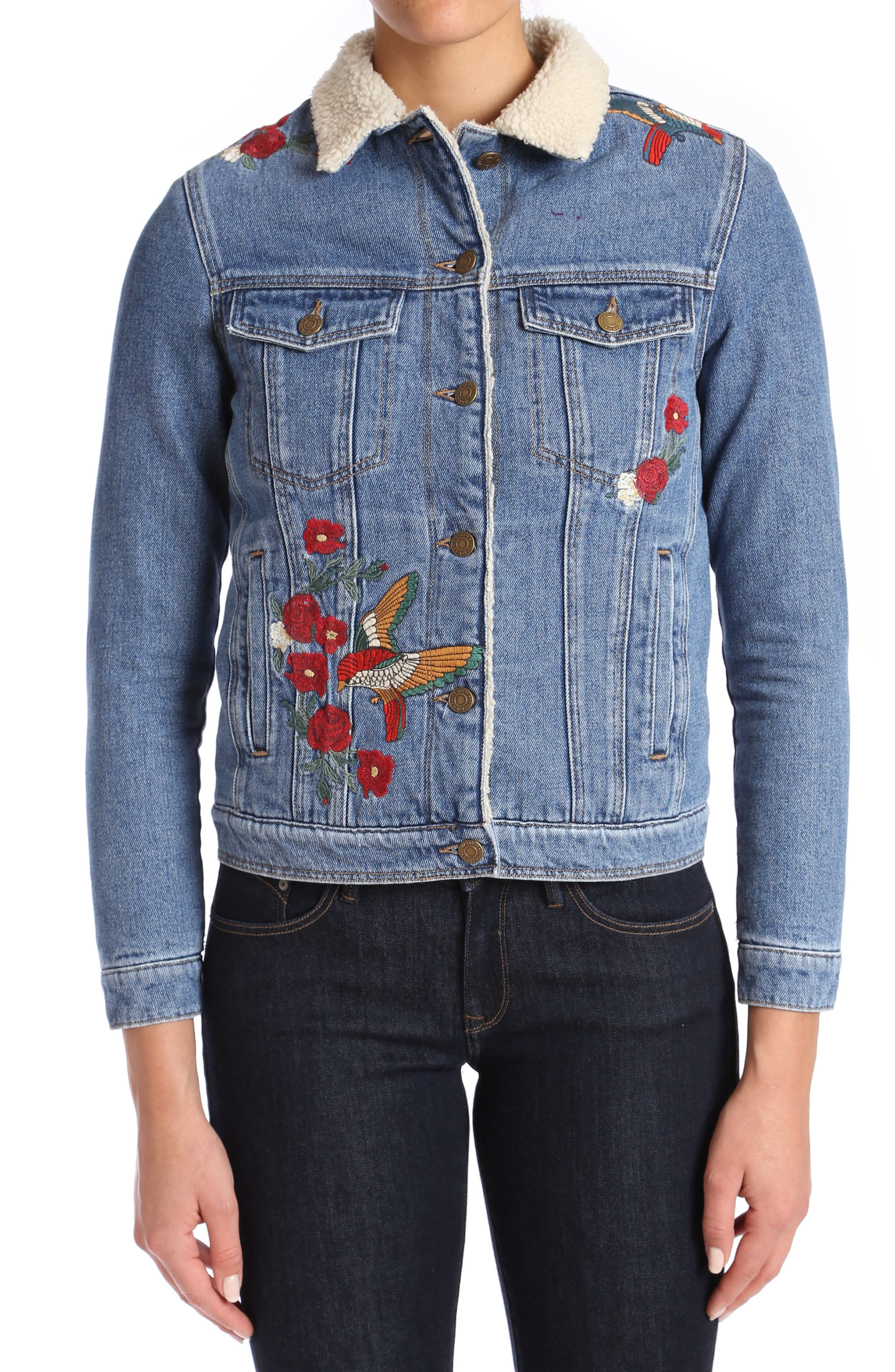 Katy Embroidered Denim Jacket,                         Main,                         color, Mid Garden Embroidery