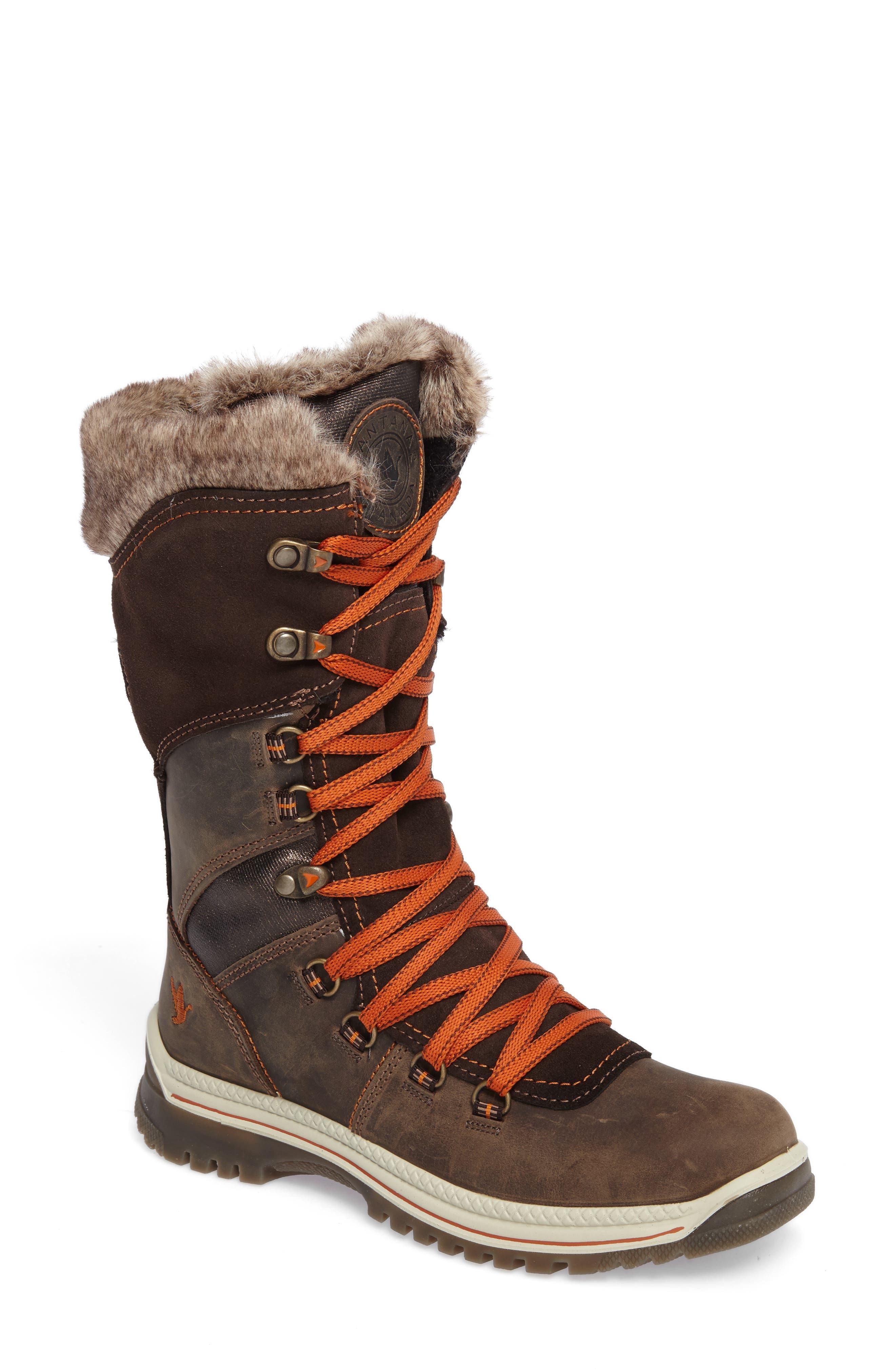 'Morella' Water Resistant Faux Fur Boot,                             Main thumbnail 1, color,                             Dark Brown Leather