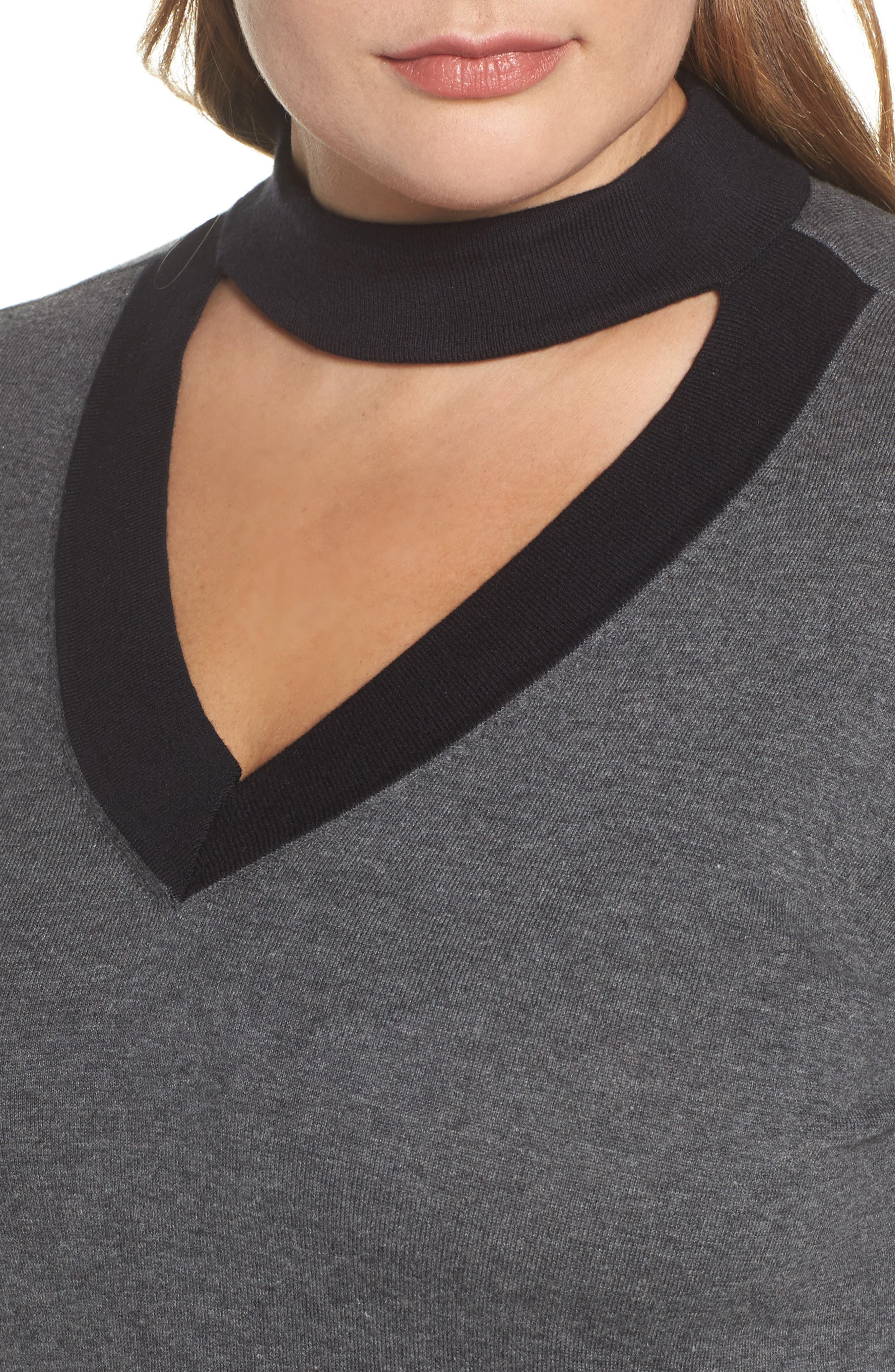 Alternate Image 4  - Vince Camuto Choker Neck Sweater (Plus Size)