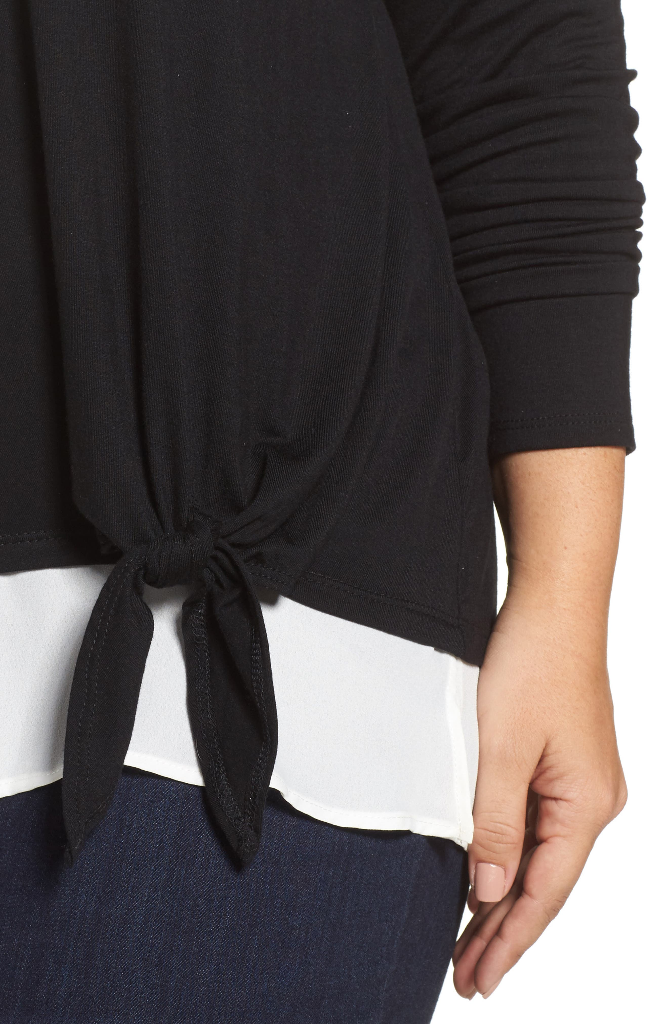 Alternate Image 4  - Sejour Layered Look Tie Hem Top (Plus Size)