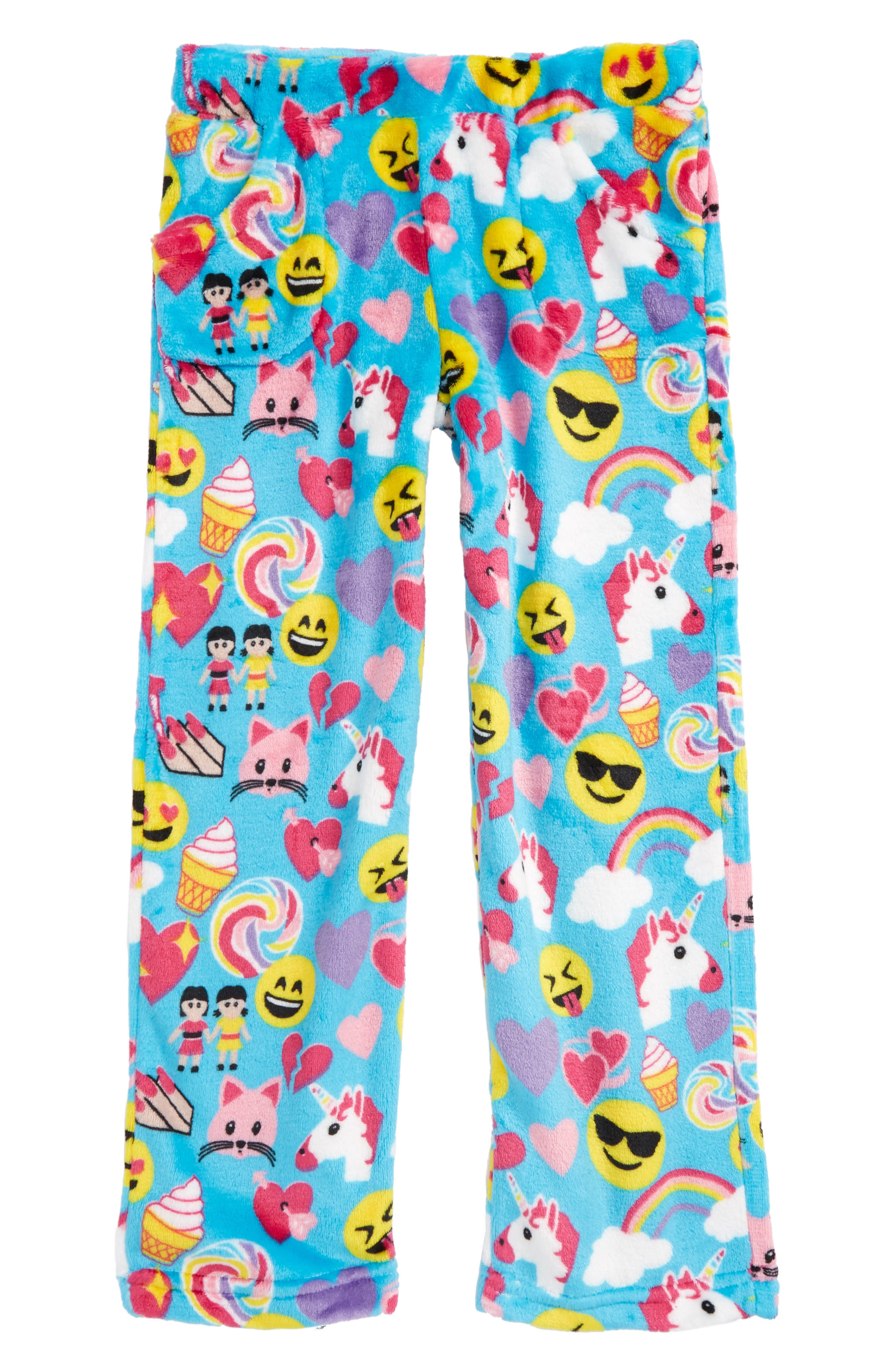 Candy Pink Emoji Print Pajama Pants (Little Girls & Big Girls)