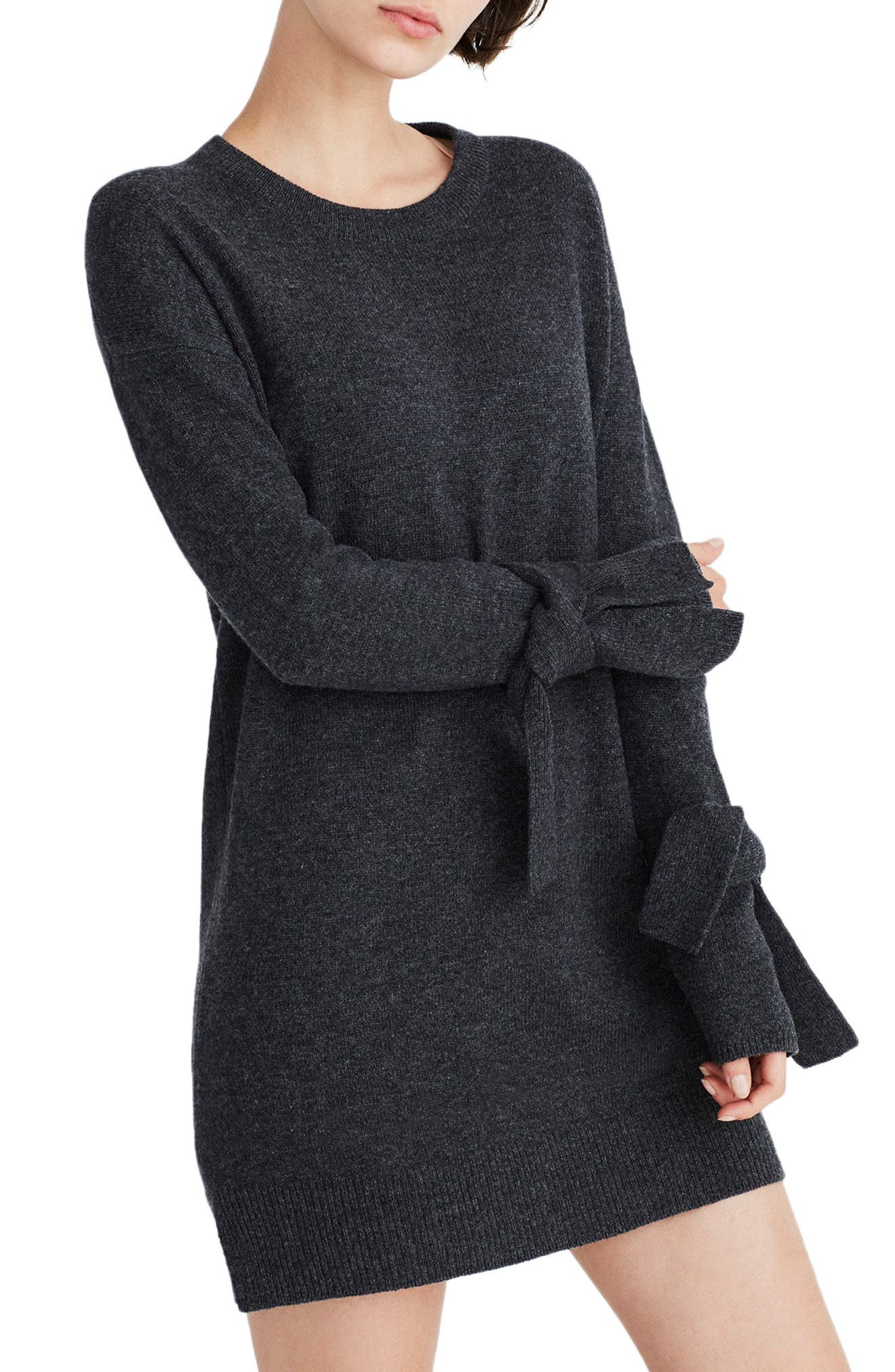 Tie Cuff Sweater Dress,                             Main thumbnail 1, color,                             Heather Carbon