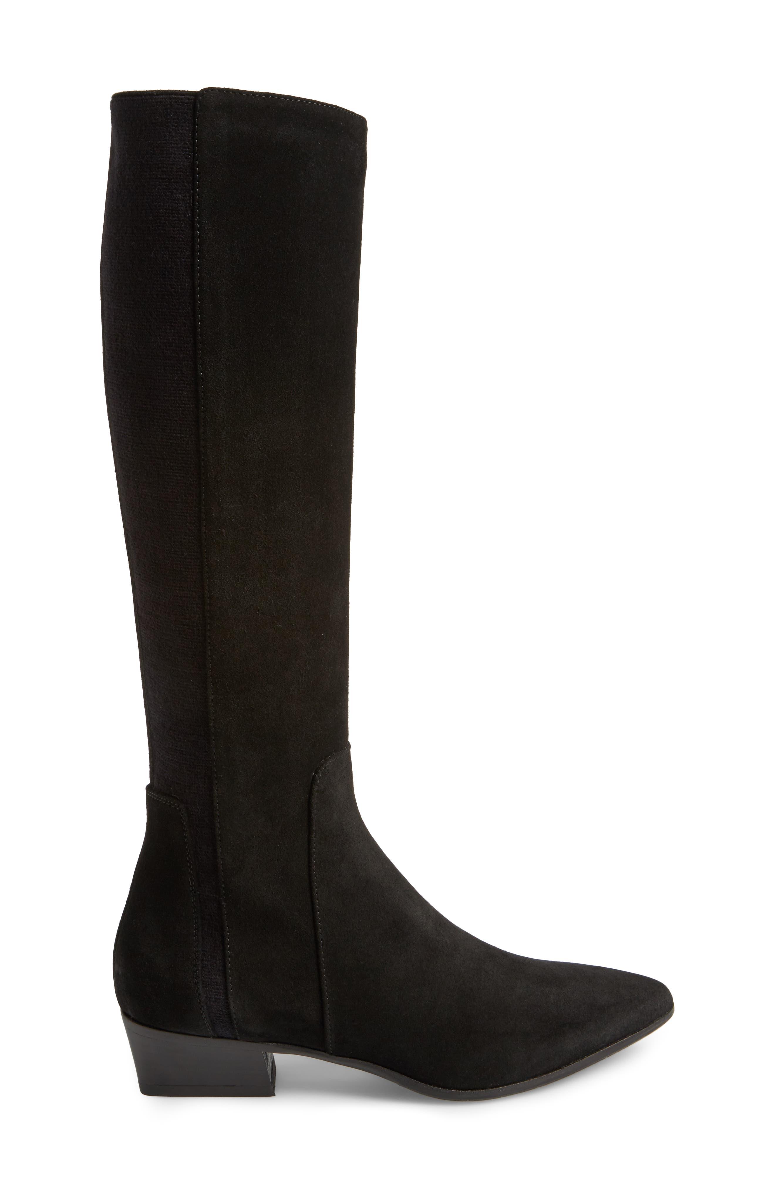 Federica Weatherproof Knee High Boot,                             Alternate thumbnail 3, color,                             Black Suede