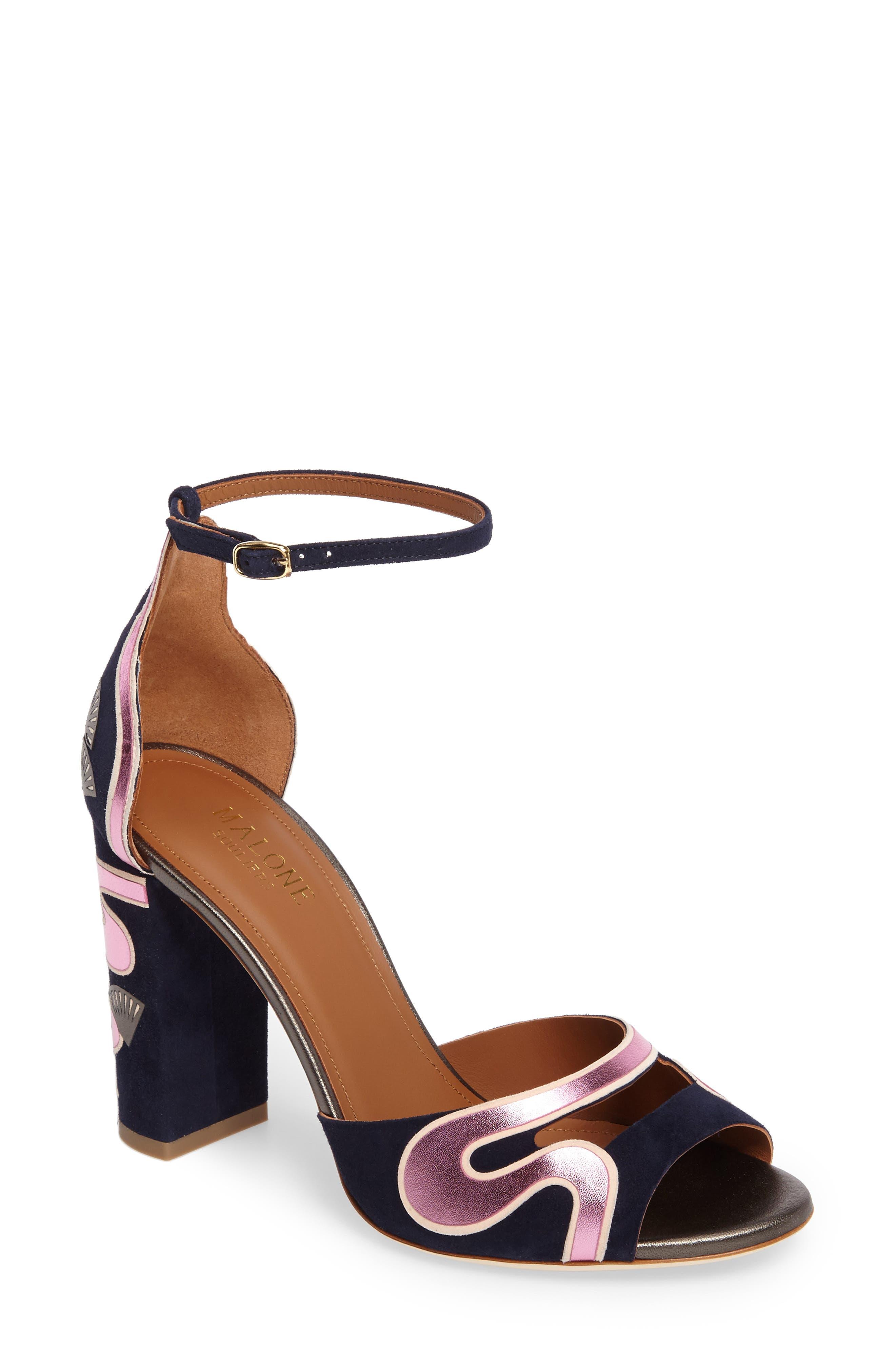 Nina Chunky Heel Sandal,                             Main thumbnail 1, color,                             Midnight Navy/ Pink