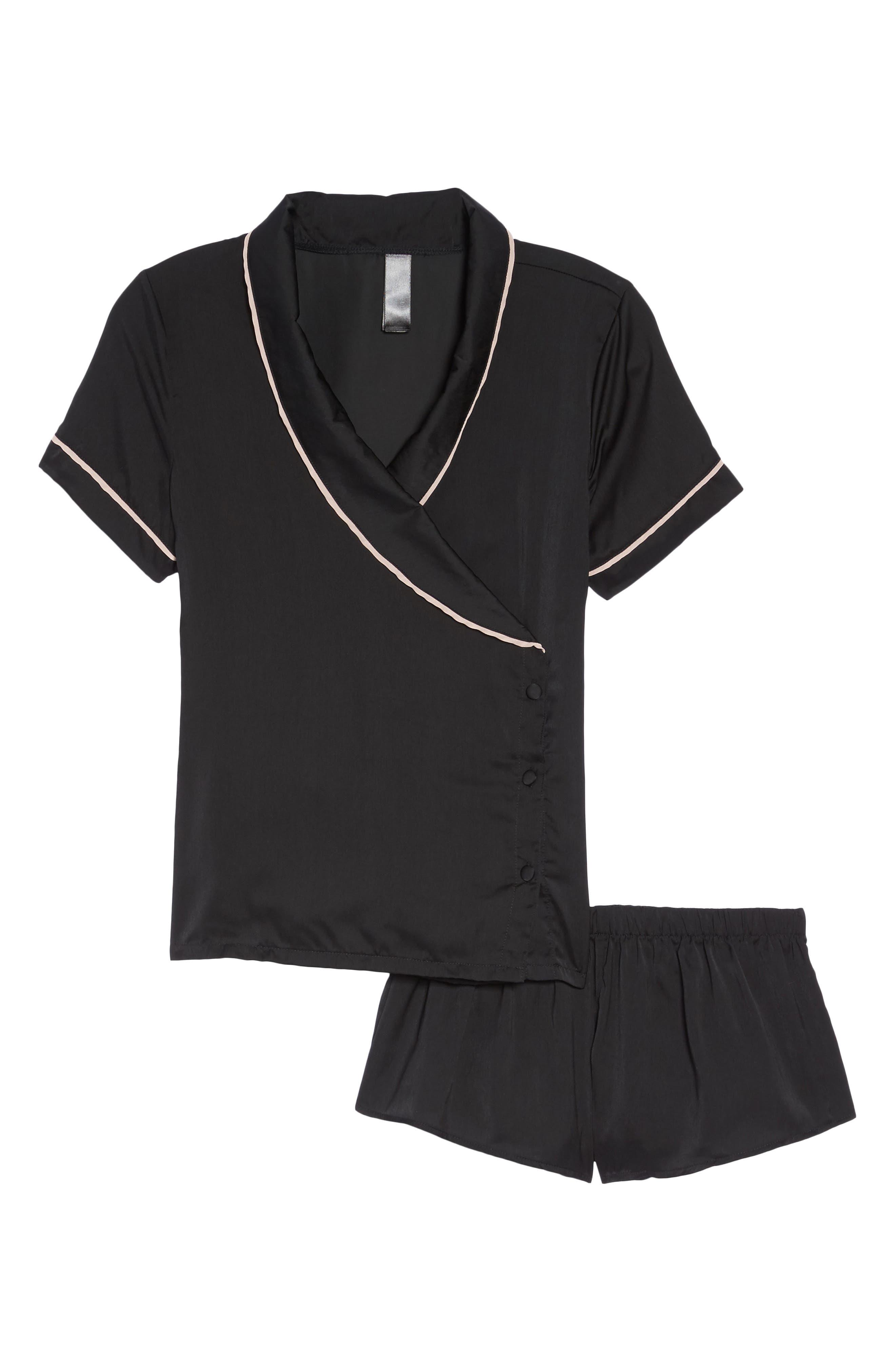 Kara Wrap Top & Shorts Set,                             Alternate thumbnail 4, color,                             Black/ Rose Dust