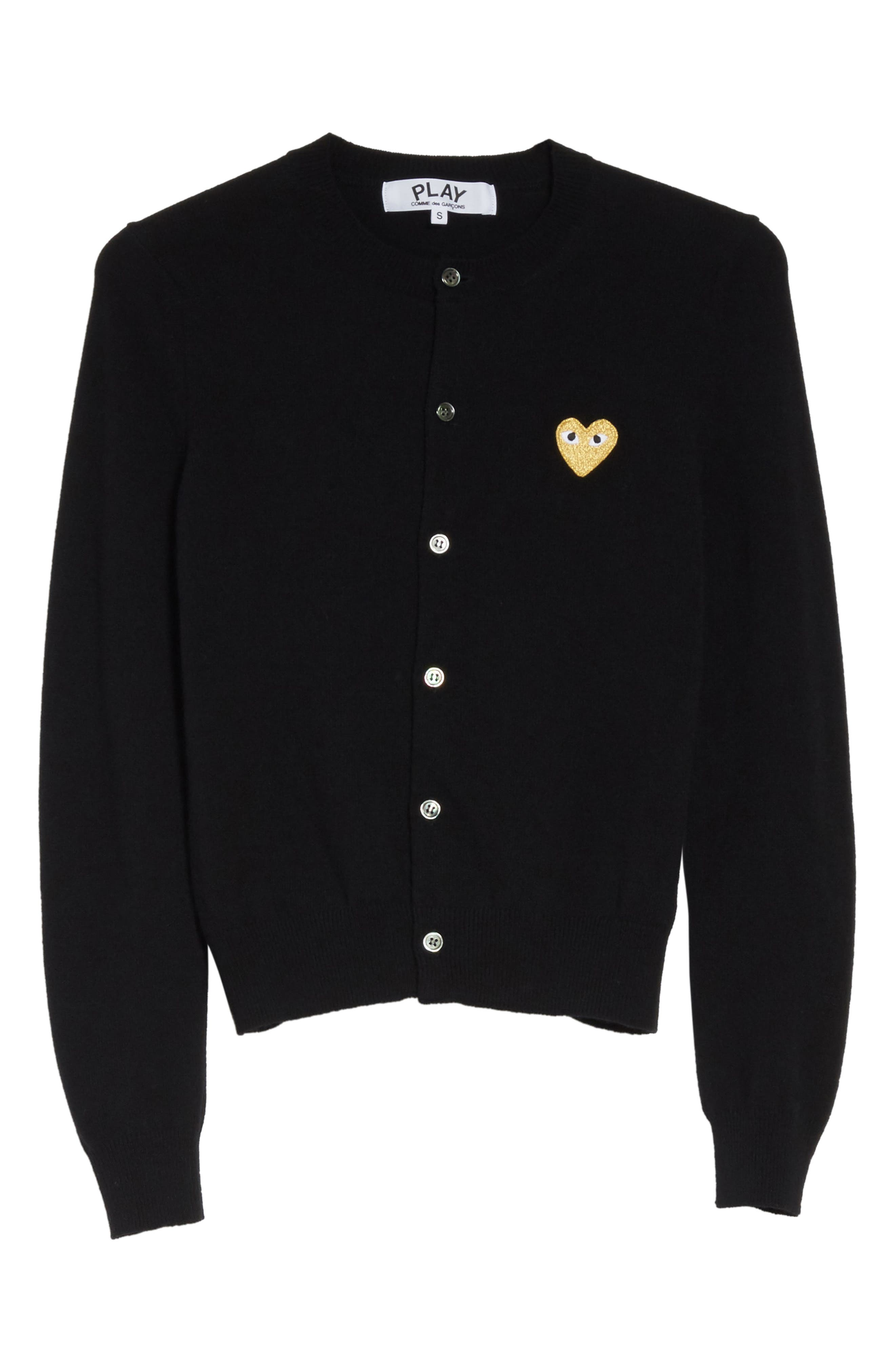 PLAY Gold Heart Patch Wool Cardigan,                             Alternate thumbnail 6, color,                             Black