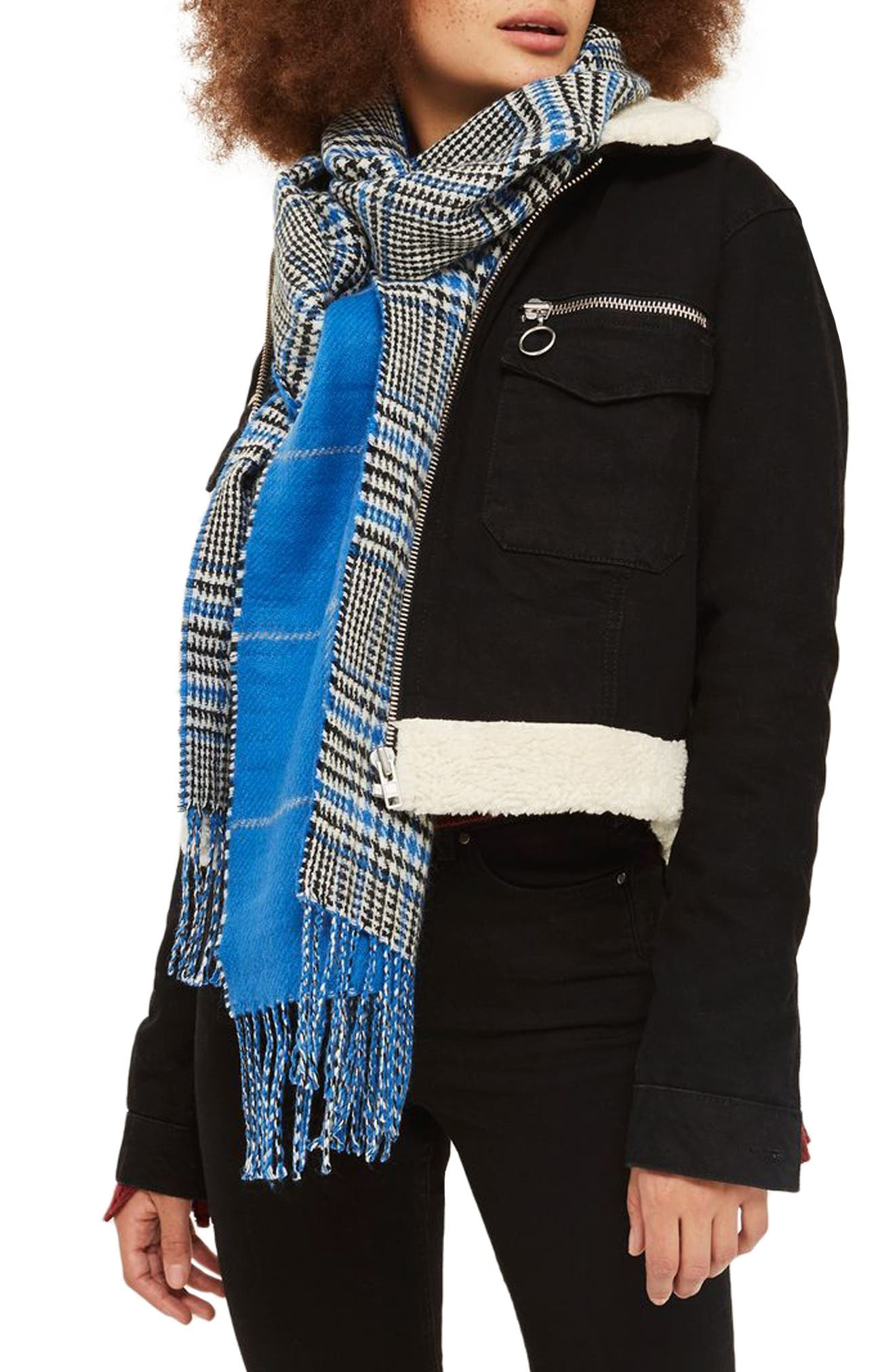 Topshop Double Face Plaid Scarf