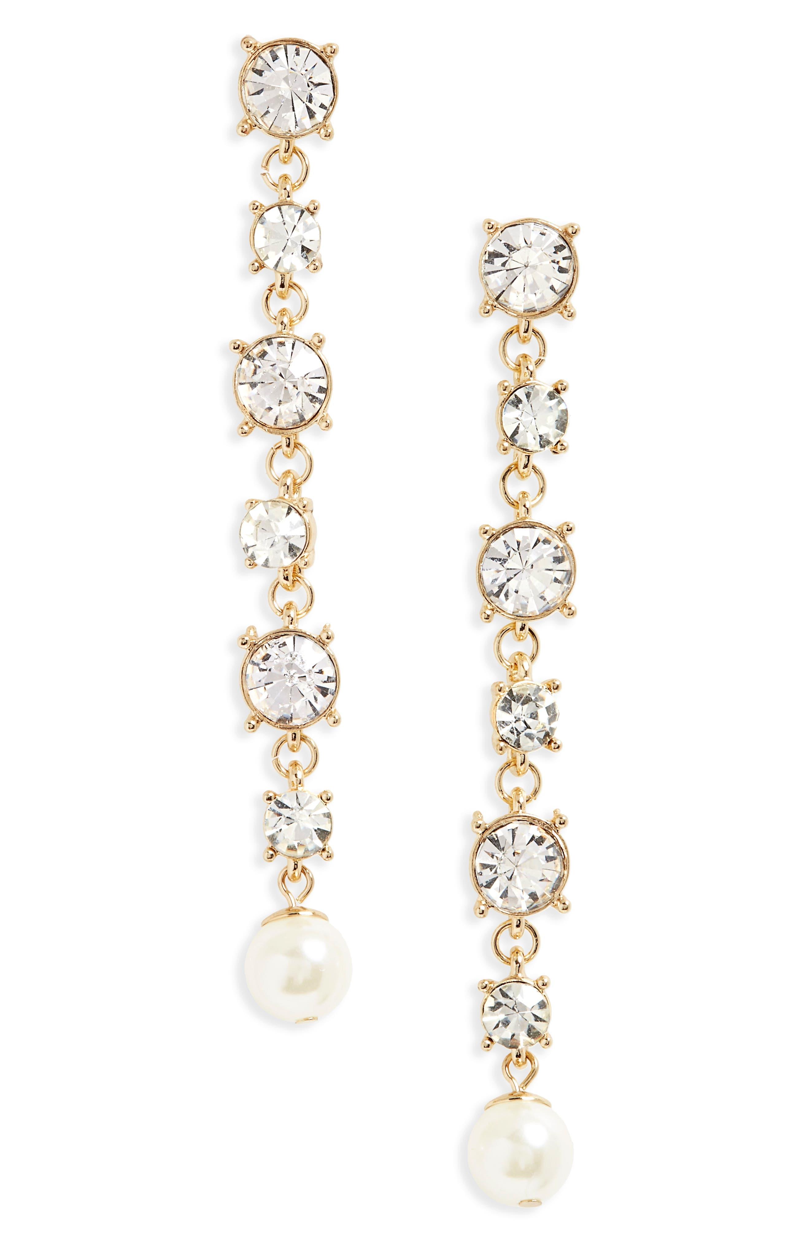 Crystal & Imitation Pearl Drop Earrings,                         Main,                         color, Gold