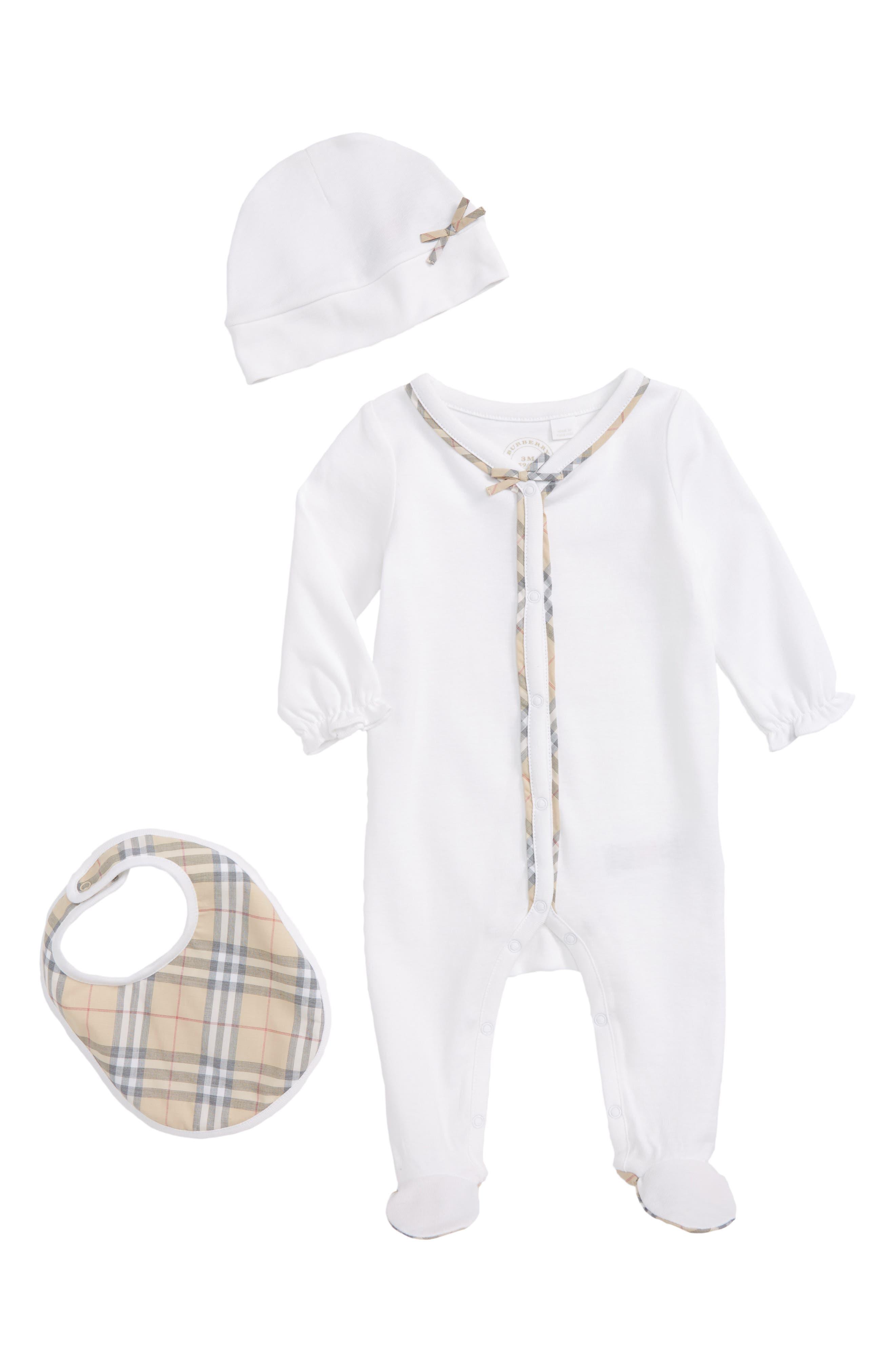 Main Image - Burberry Jacey Footie, Hat & Bib Set (Baby Girls)