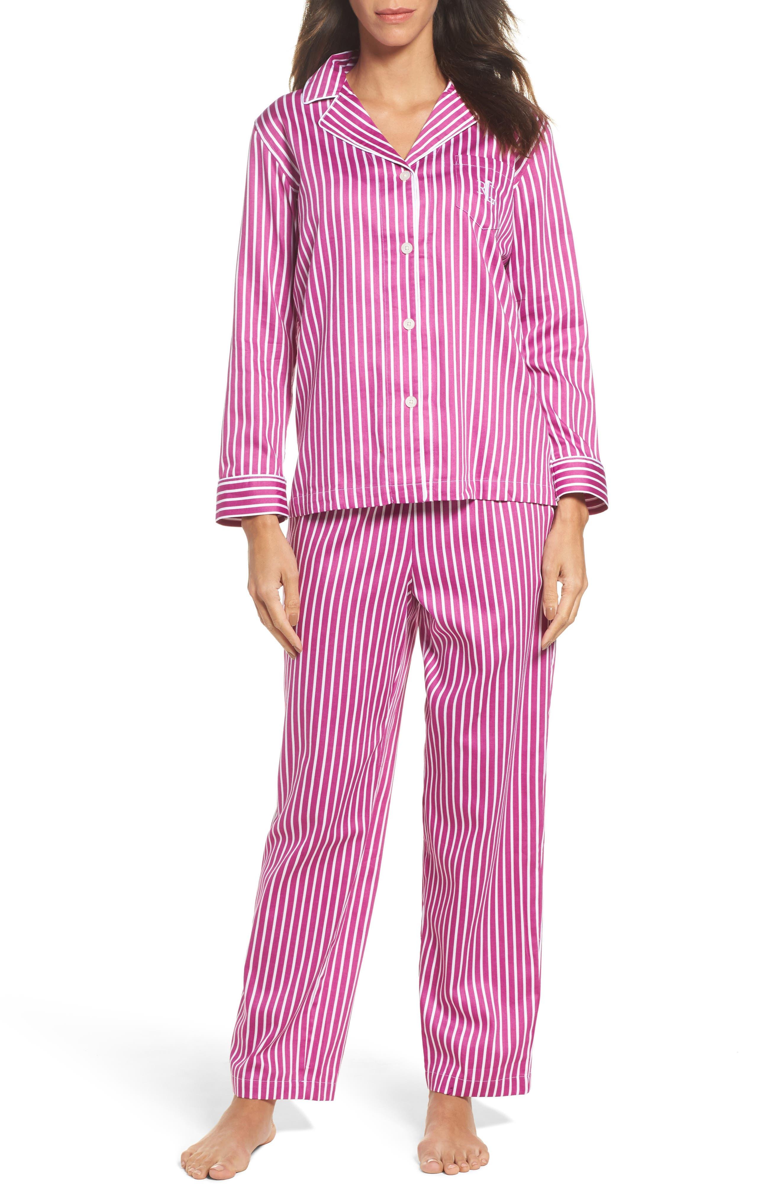 Notch Collar Pajamas,                         Main,                         color, Pink/ White Stripe