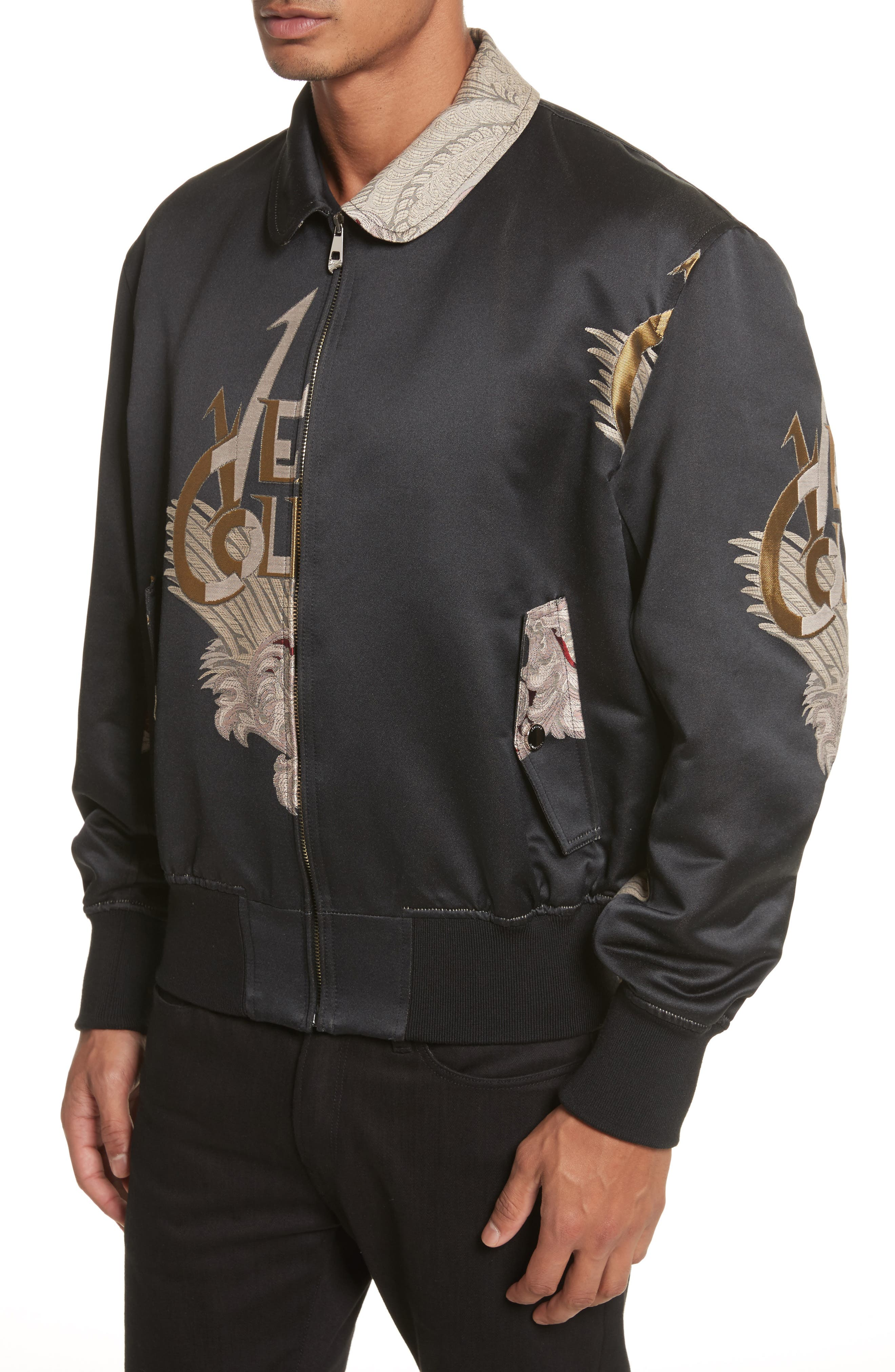 Alternate Image 4  - Versace Collection Embroidered Logo Bomber Jacket