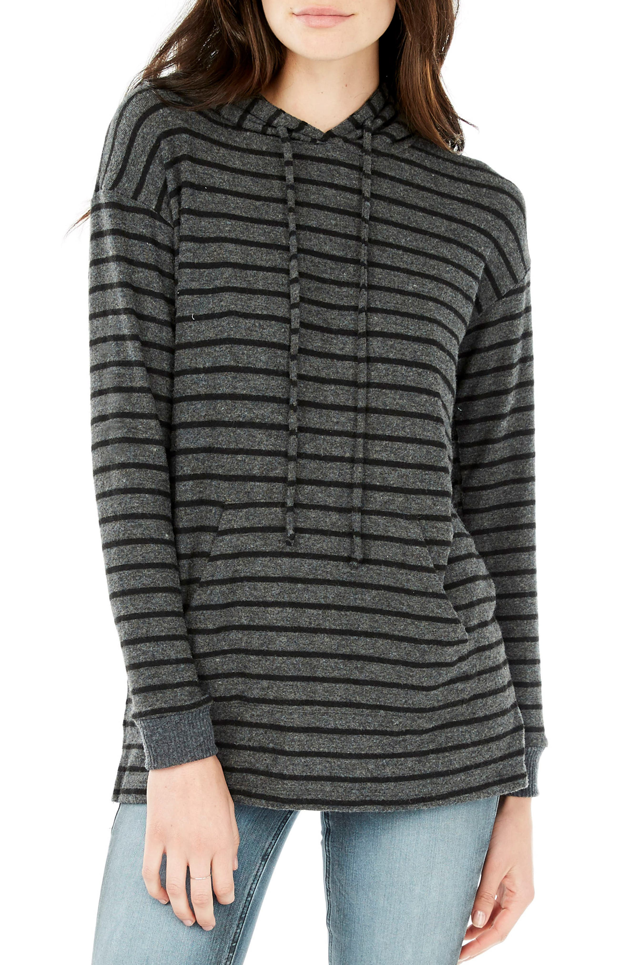 V-Neck Hoodie,                         Main,                         color, Chacoal/ Black