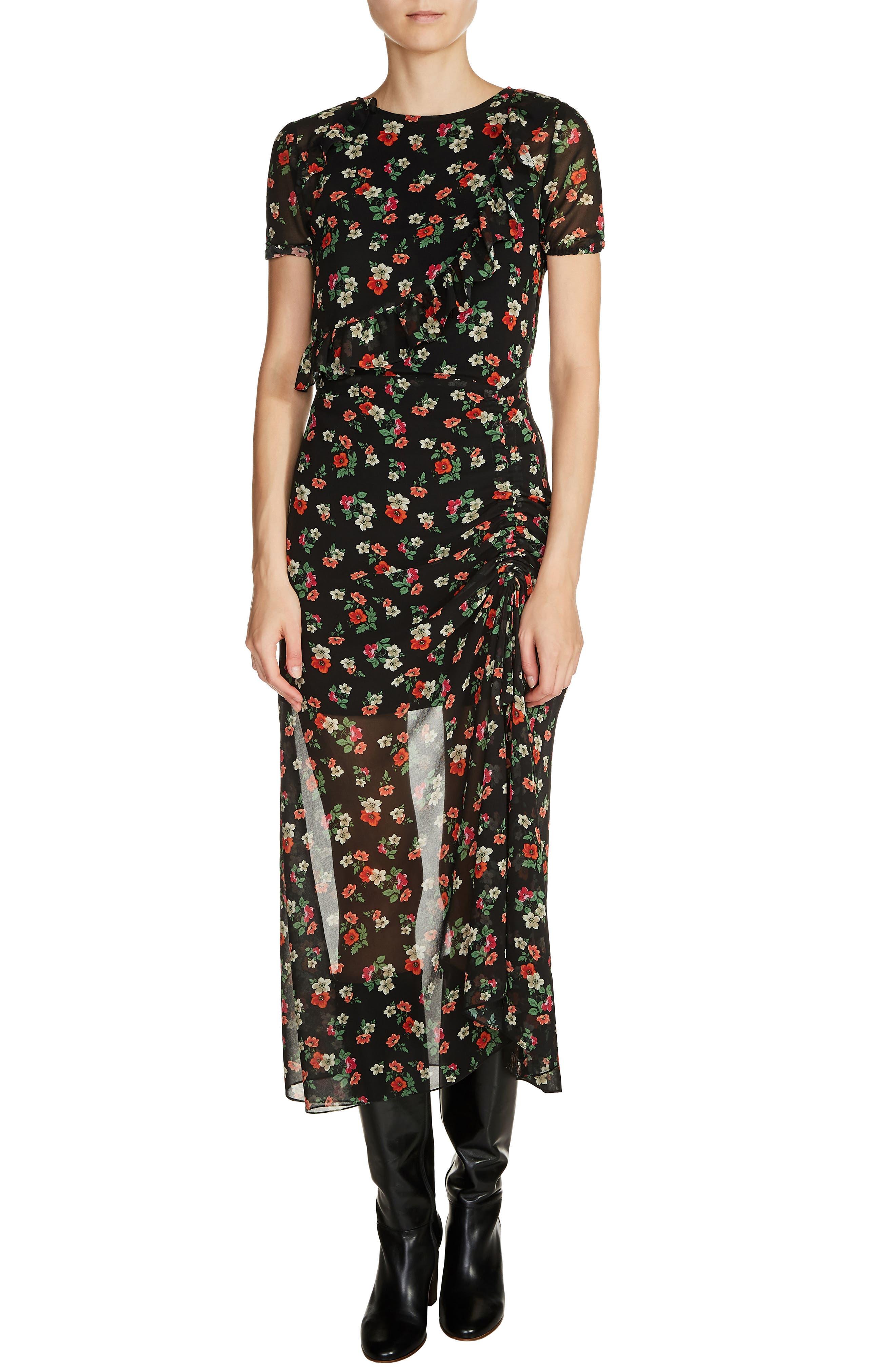 maje Rancho Floral Chiffon Dress