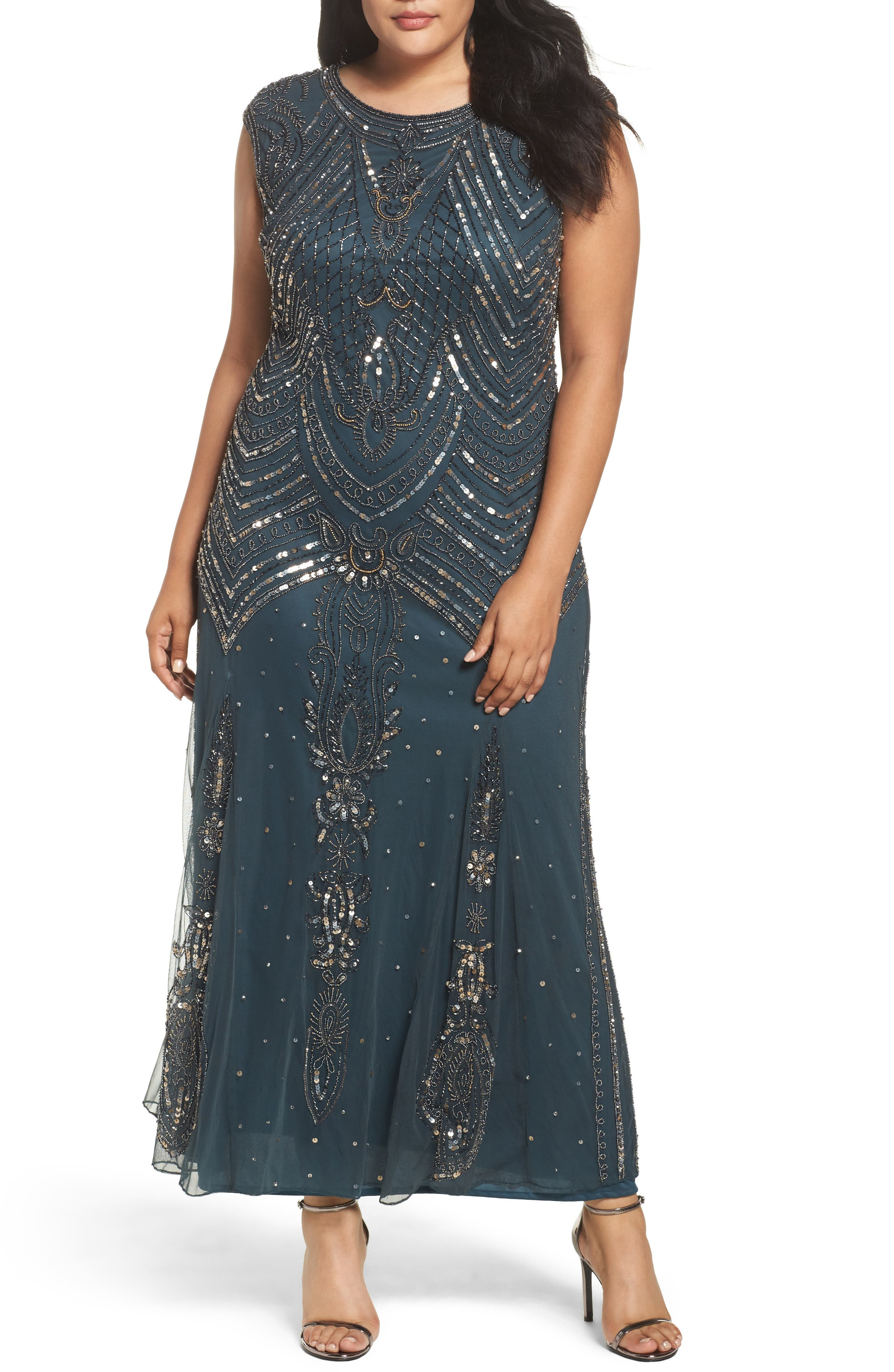 Beaded Mesh Gown,                         Main,                         color, Teal