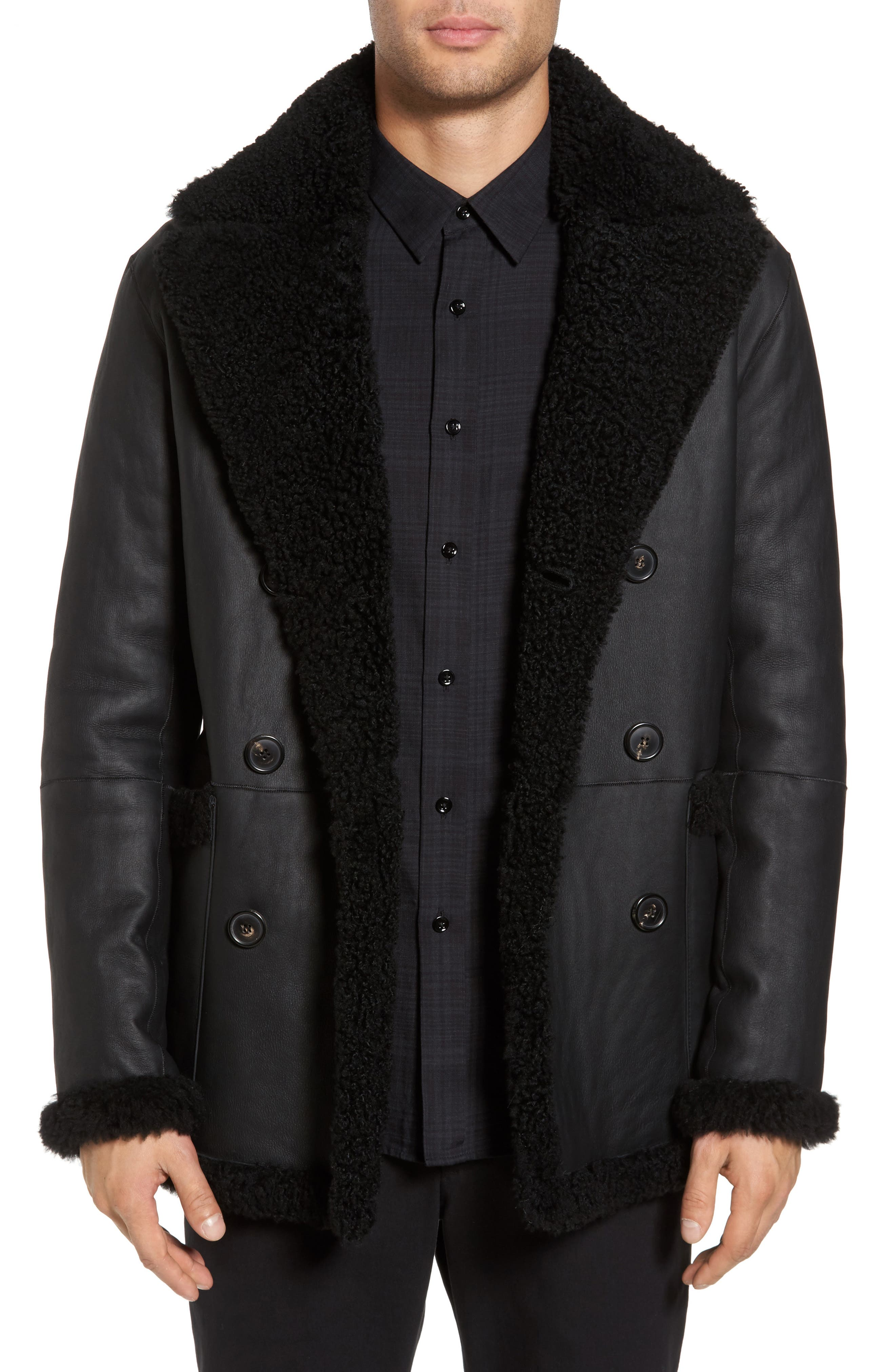 Alternate Image 2  - Theory Reversible Genuine Shearling Peacoat