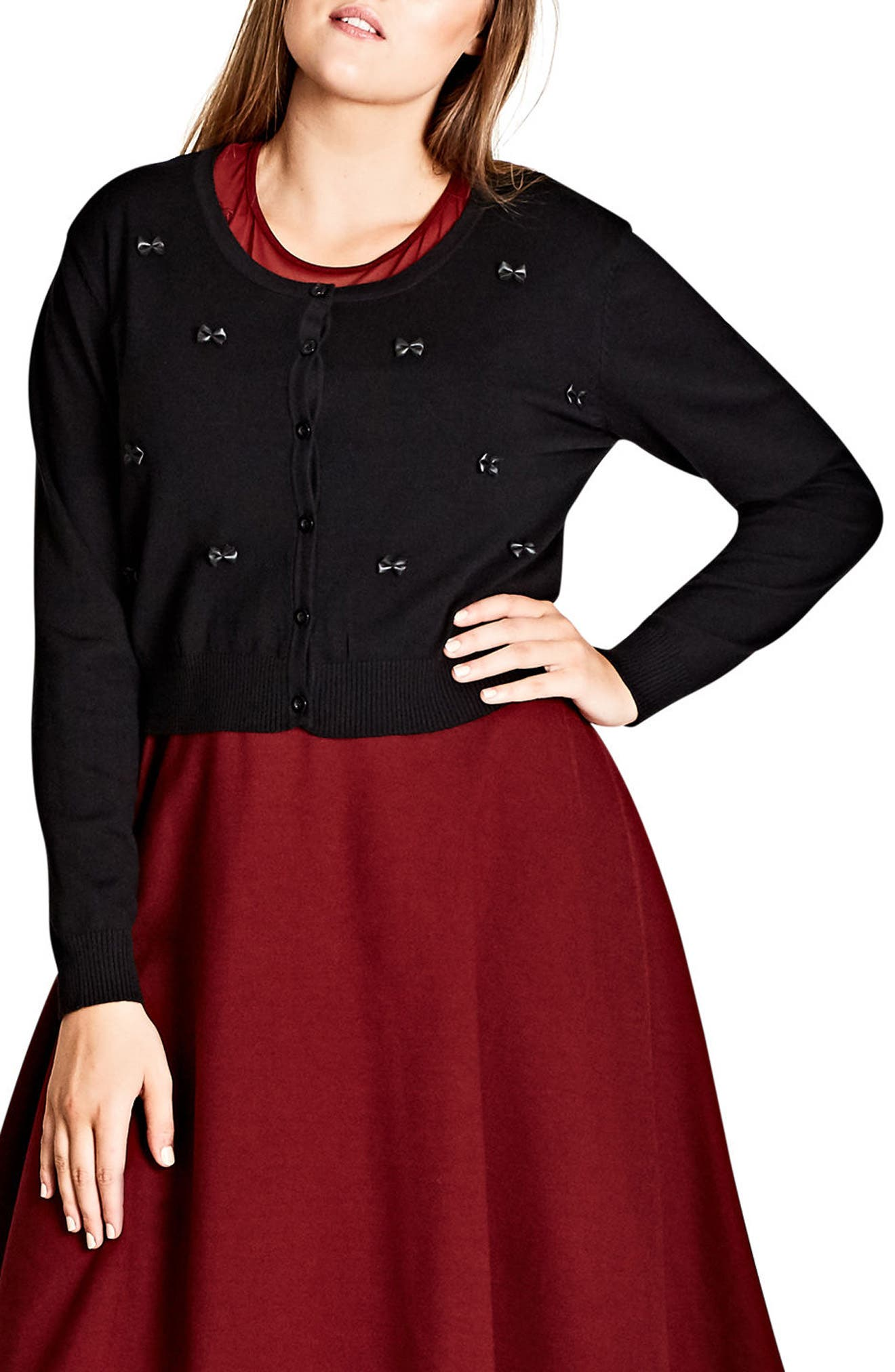 Main Image - City Chic Sweetie Bow Crop Cardigan (Plus Size)
