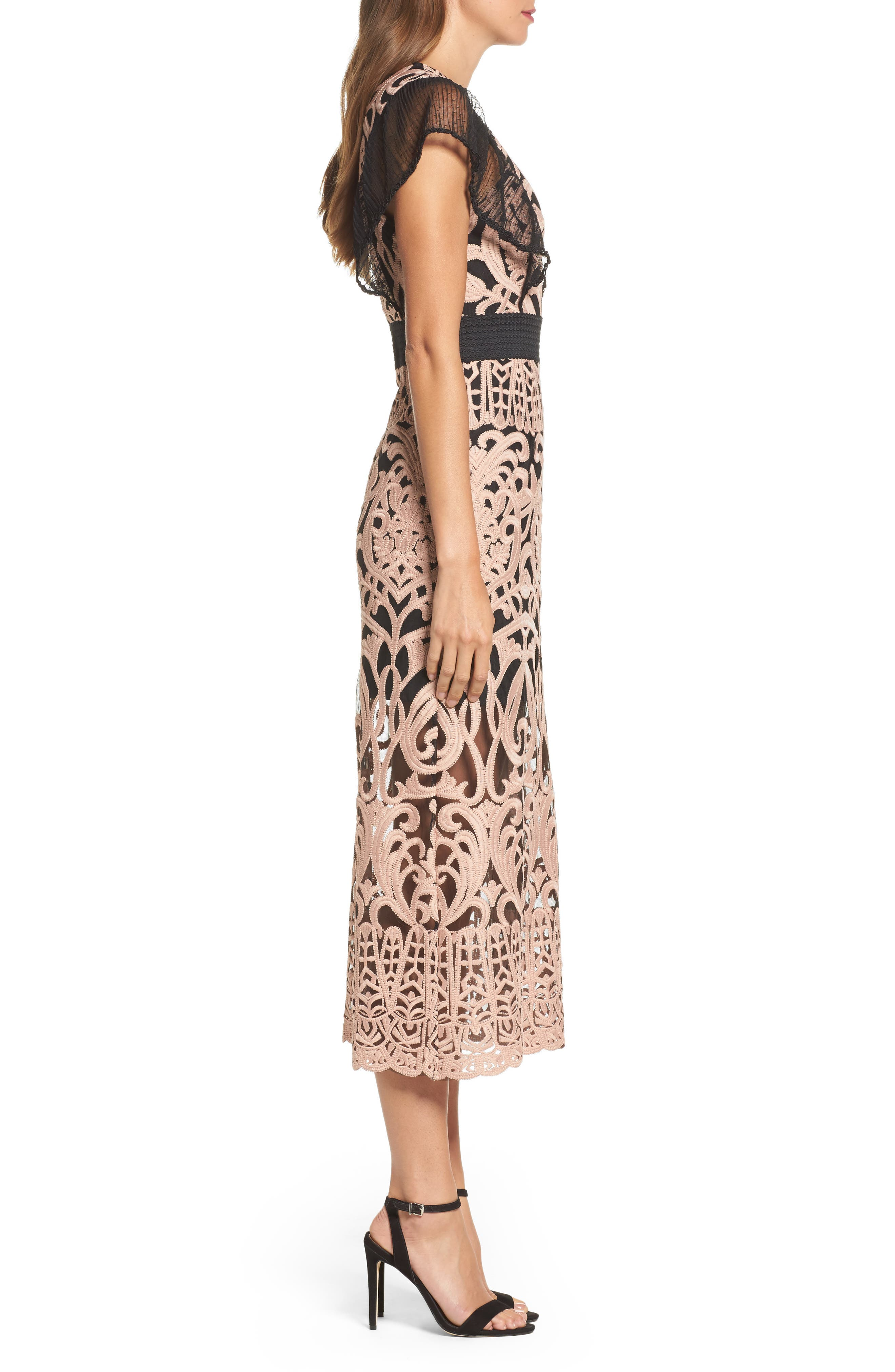 Rosabel Embroidered Midi Sheath Dress,                             Alternate thumbnail 3, color,                             Pink