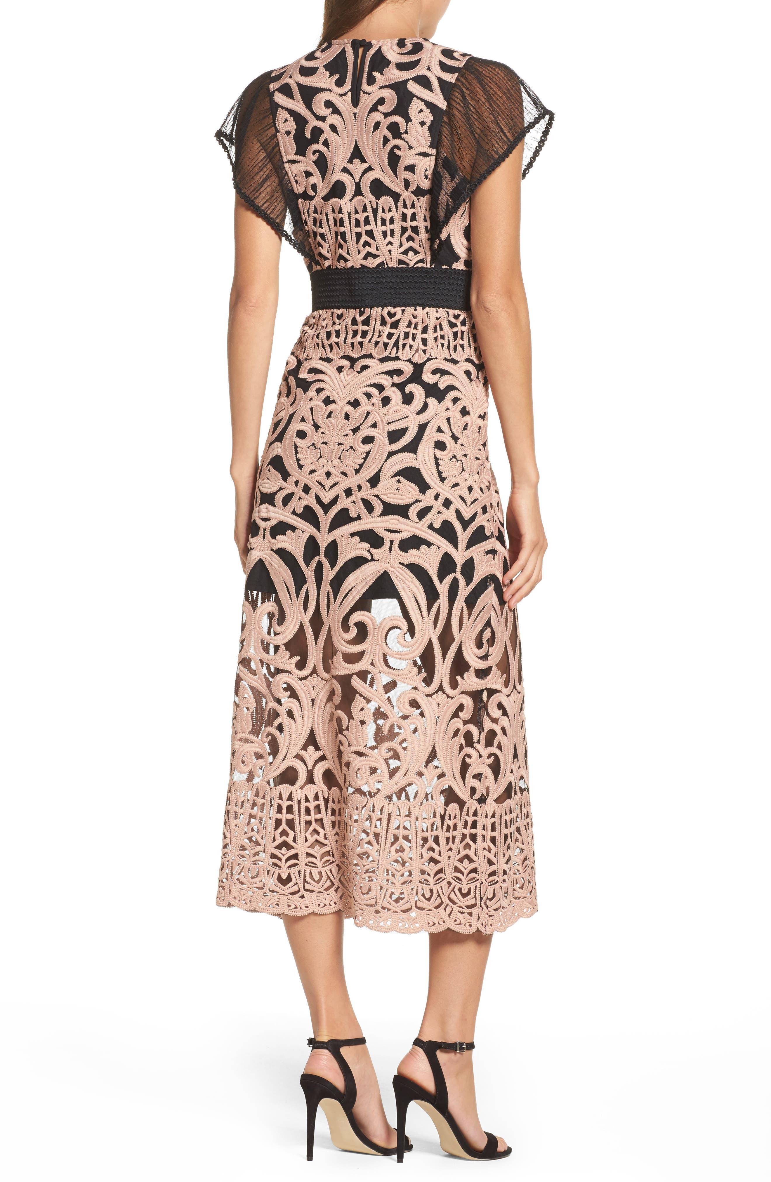 Rosabel Embroidered Midi Sheath Dress,                             Alternate thumbnail 2, color,                             Pink