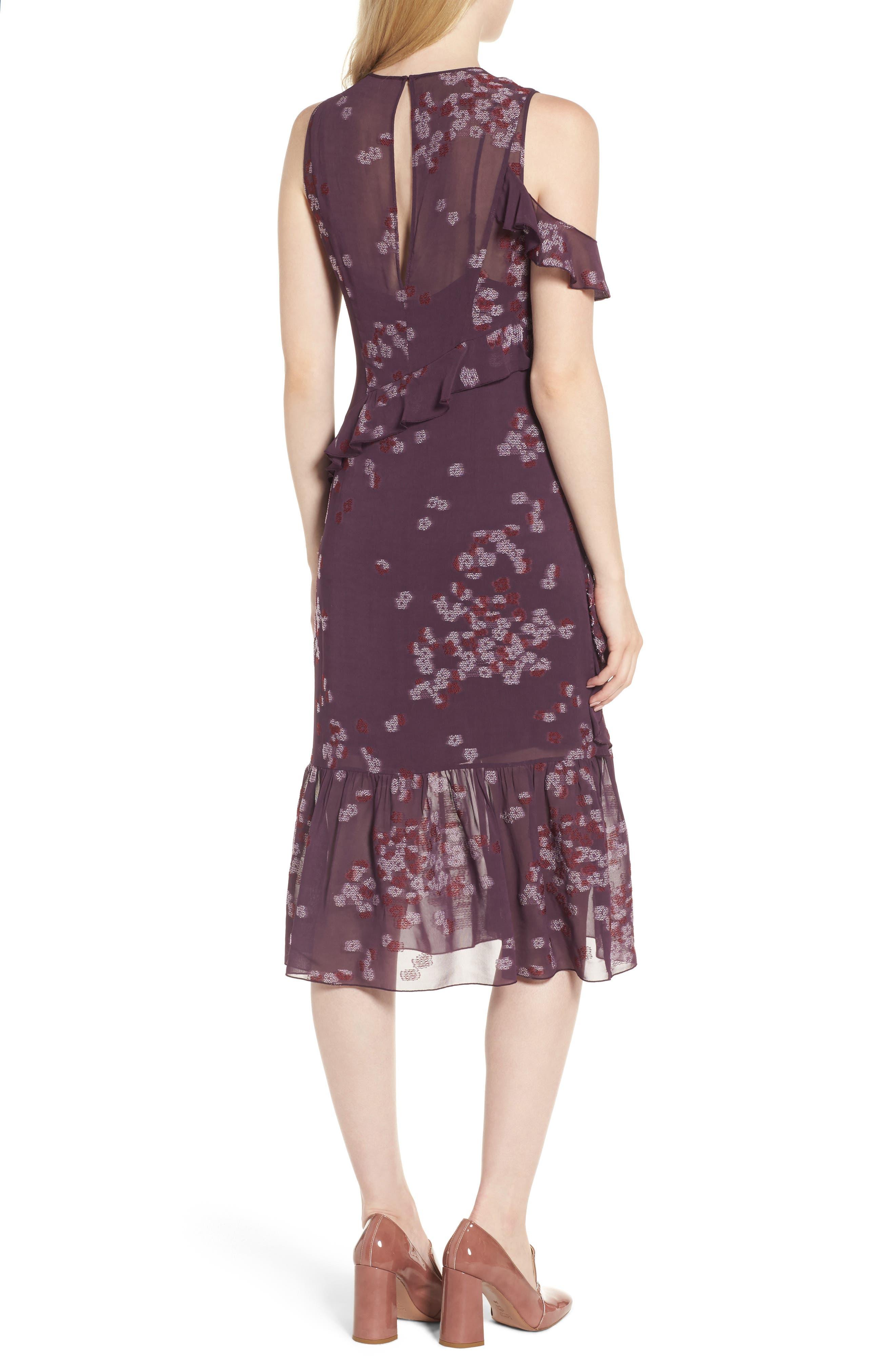 Jacquard Ruffle Dress,                             Alternate thumbnail 2, color,                             Purple Plum Scattered Floral