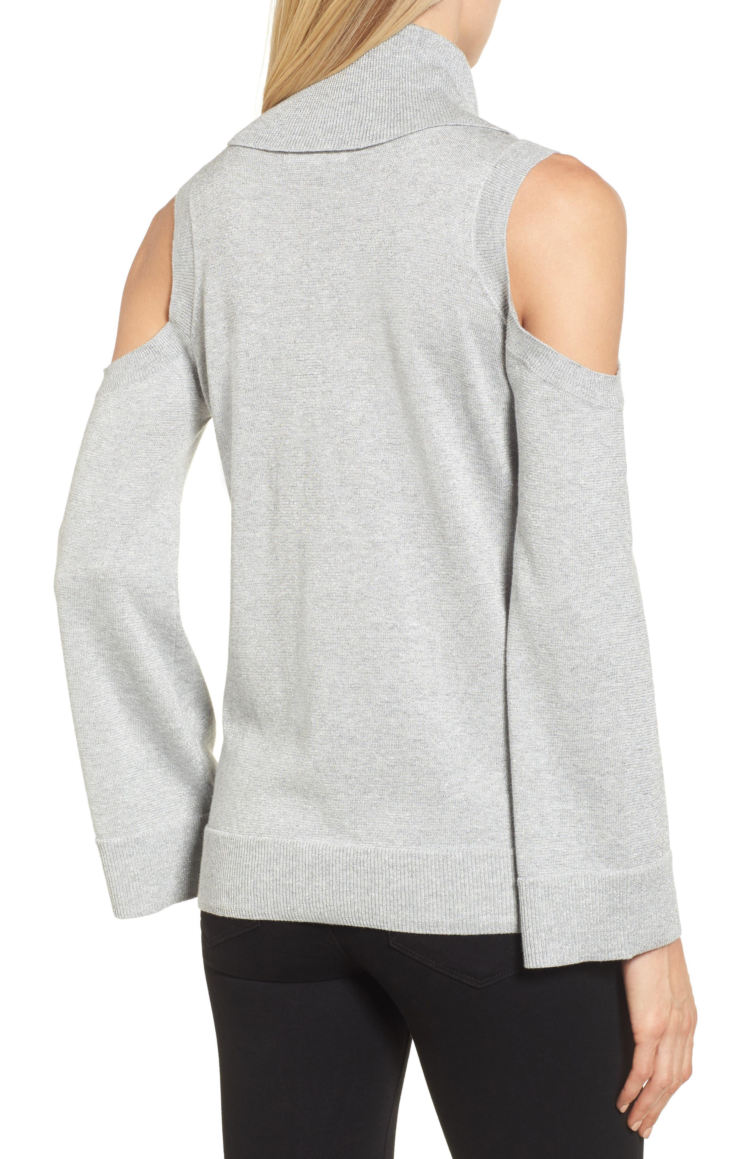 Alternate Image 2  - Chaus Metallic Cold Shoulder Cowl Neck Sweater