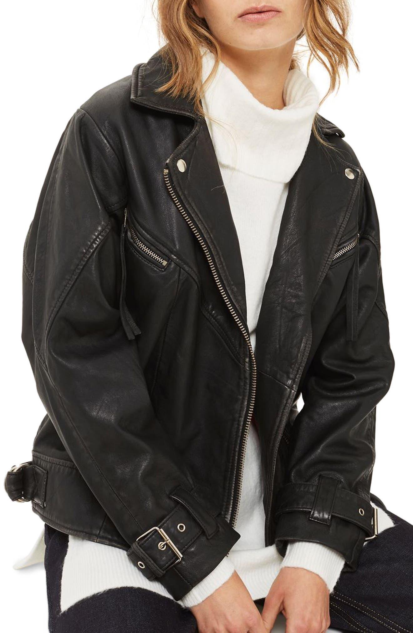 Teddy Oversize Leather Biker Jacket,                         Main,                         color, Black
