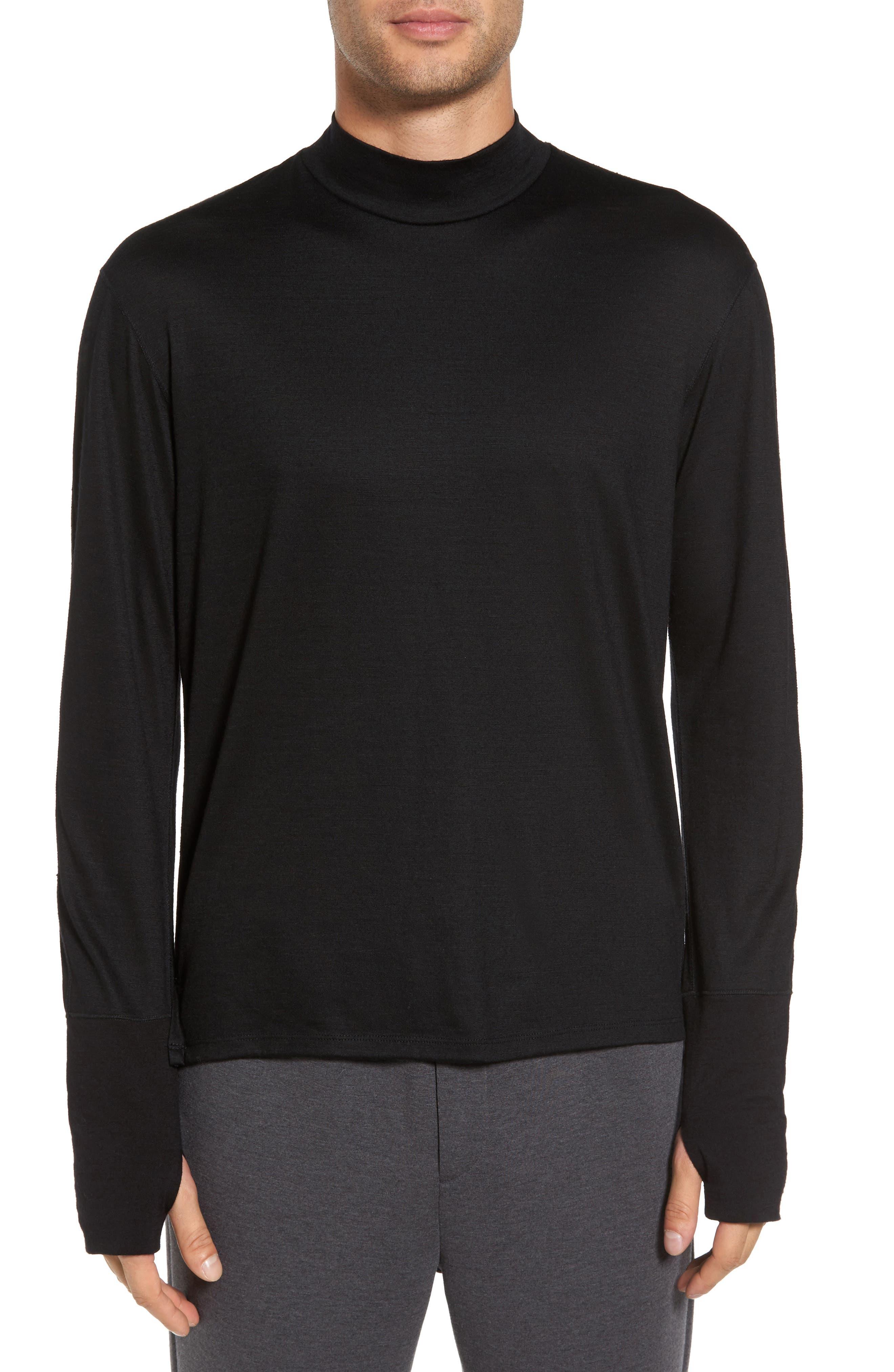 Mock Neck Thumbhole Wool T-Shirt,                             Main thumbnail 1, color,                             Black