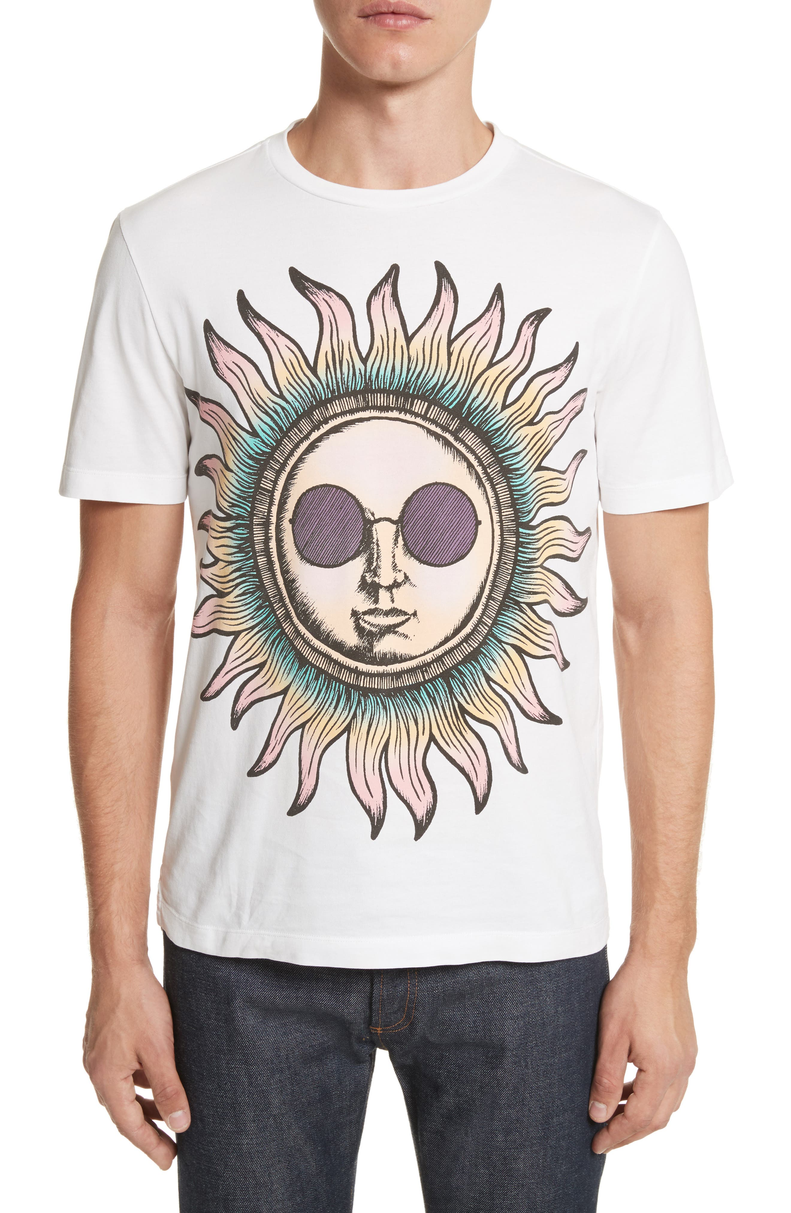 Psychedelic Sun Graphic T-Shirt,                         Main,                         color, White