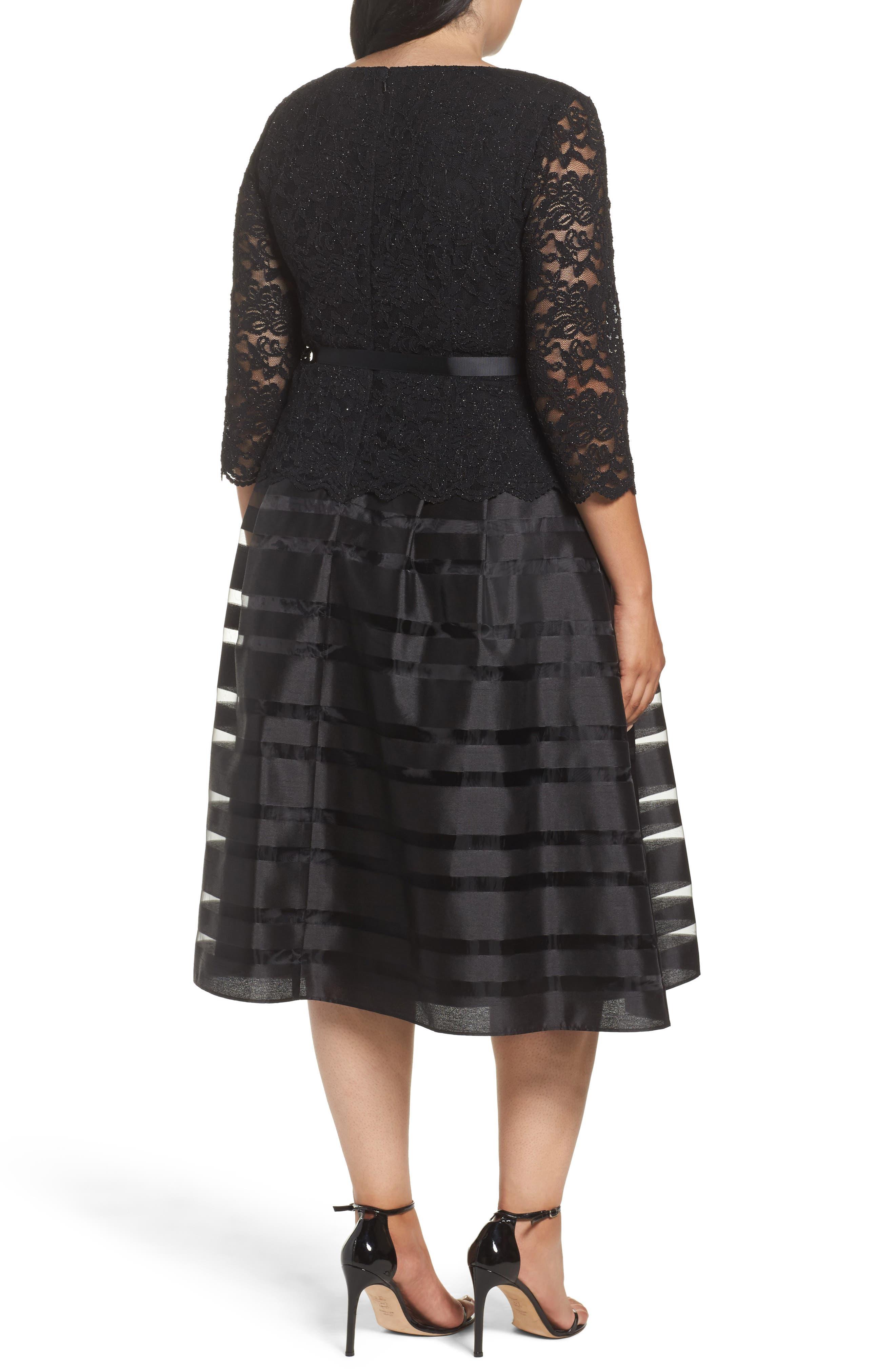 Alternate Image 2  - Alex Evenings Mock Two-Piece A-Line Midi Dress (Plus Size)