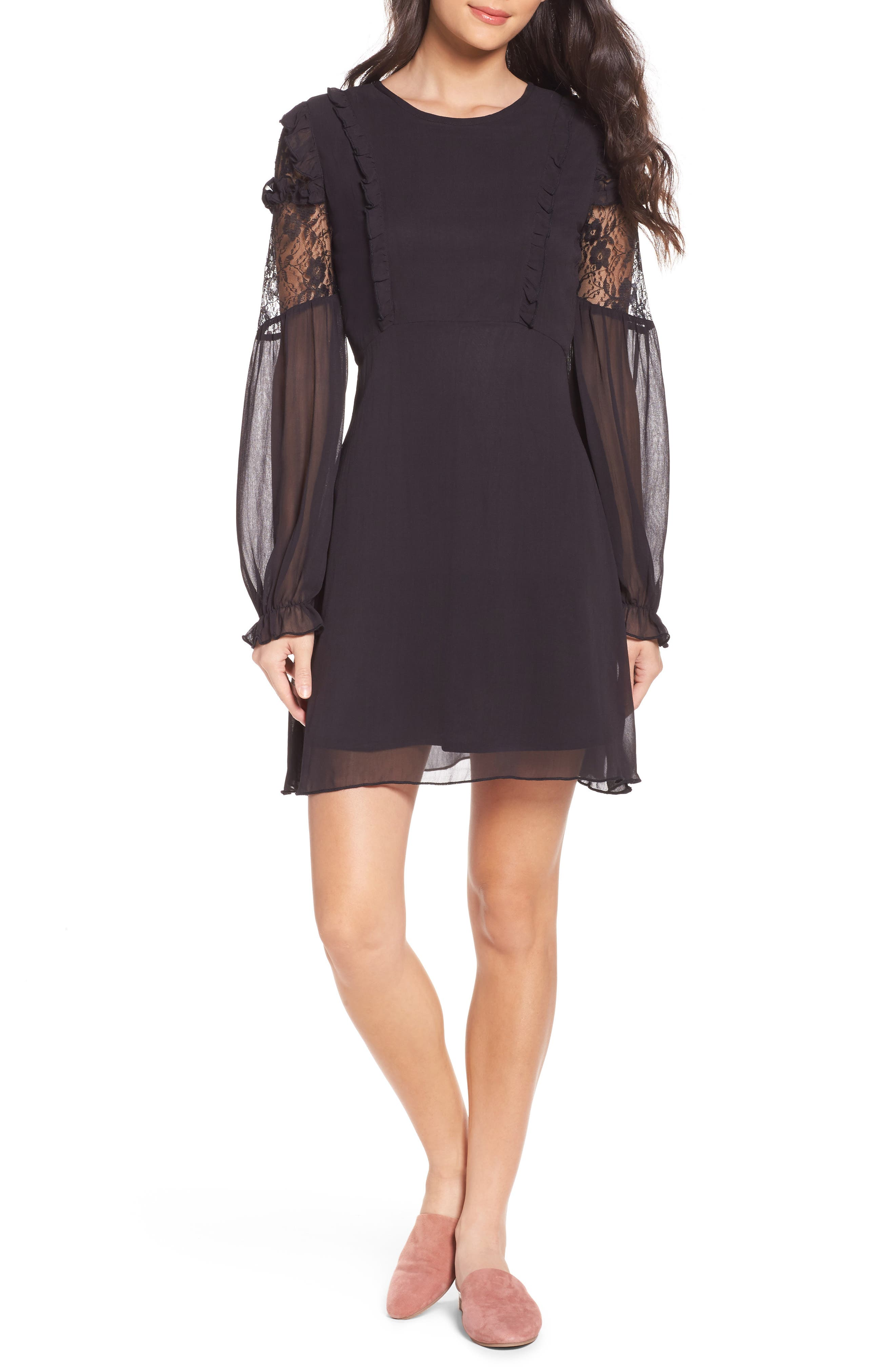 Lace & Chiffon Dress,                             Main thumbnail 1, color,                             Black