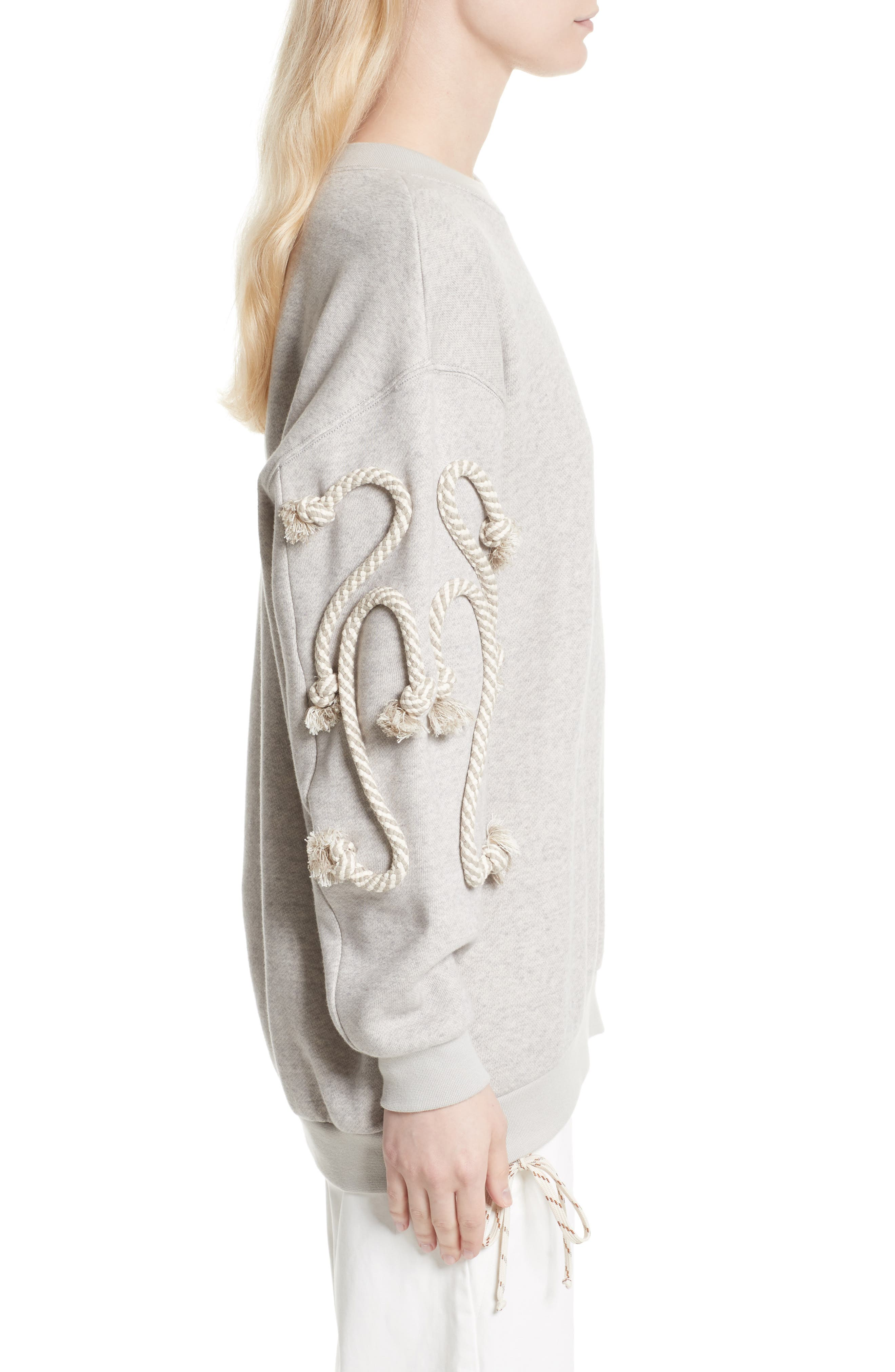 Rope Trim Sweater,                             Alternate thumbnail 5, color,                             Drizzle Grey
