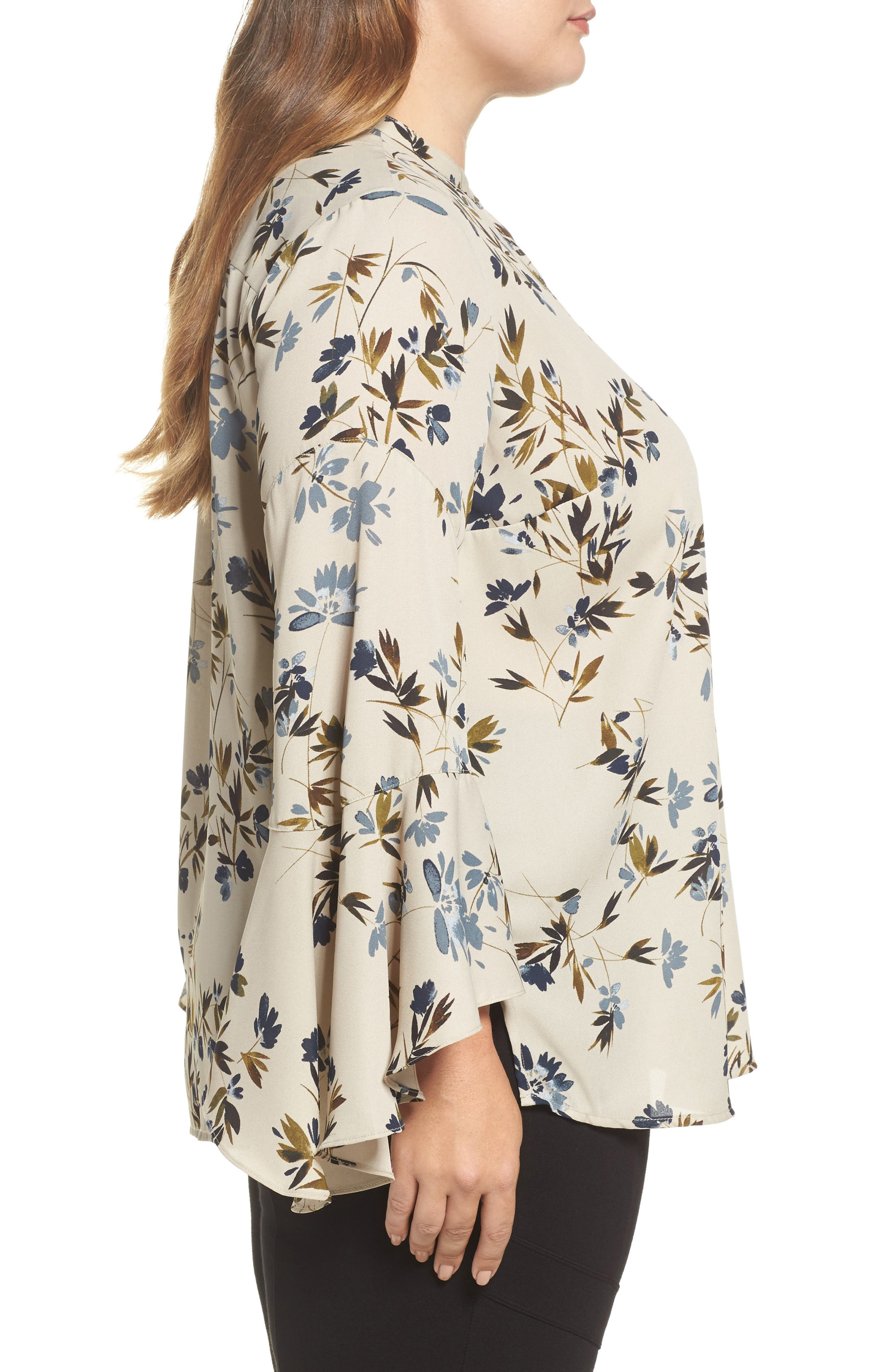 Alternate Image 3  - Vince Camuto Timeless Bouquet Bell Sleeve Blouse (Plus Size)