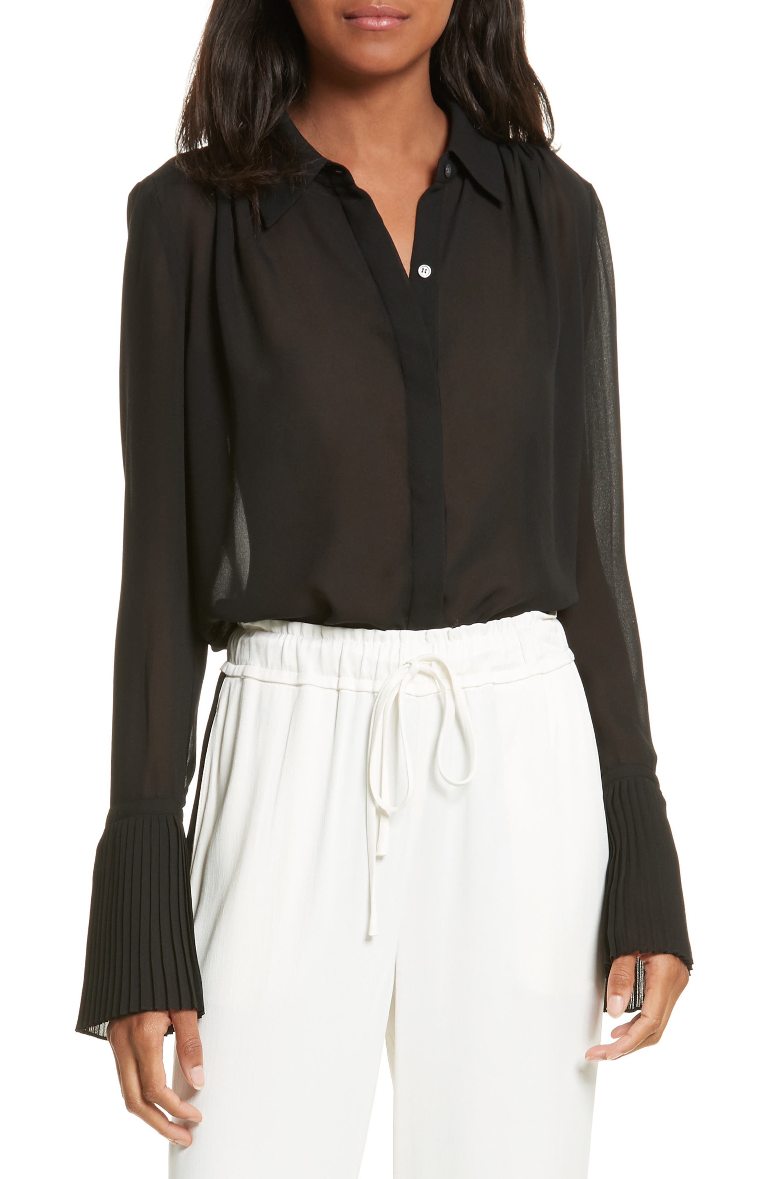 FRAME Sheer Pleated Blouse