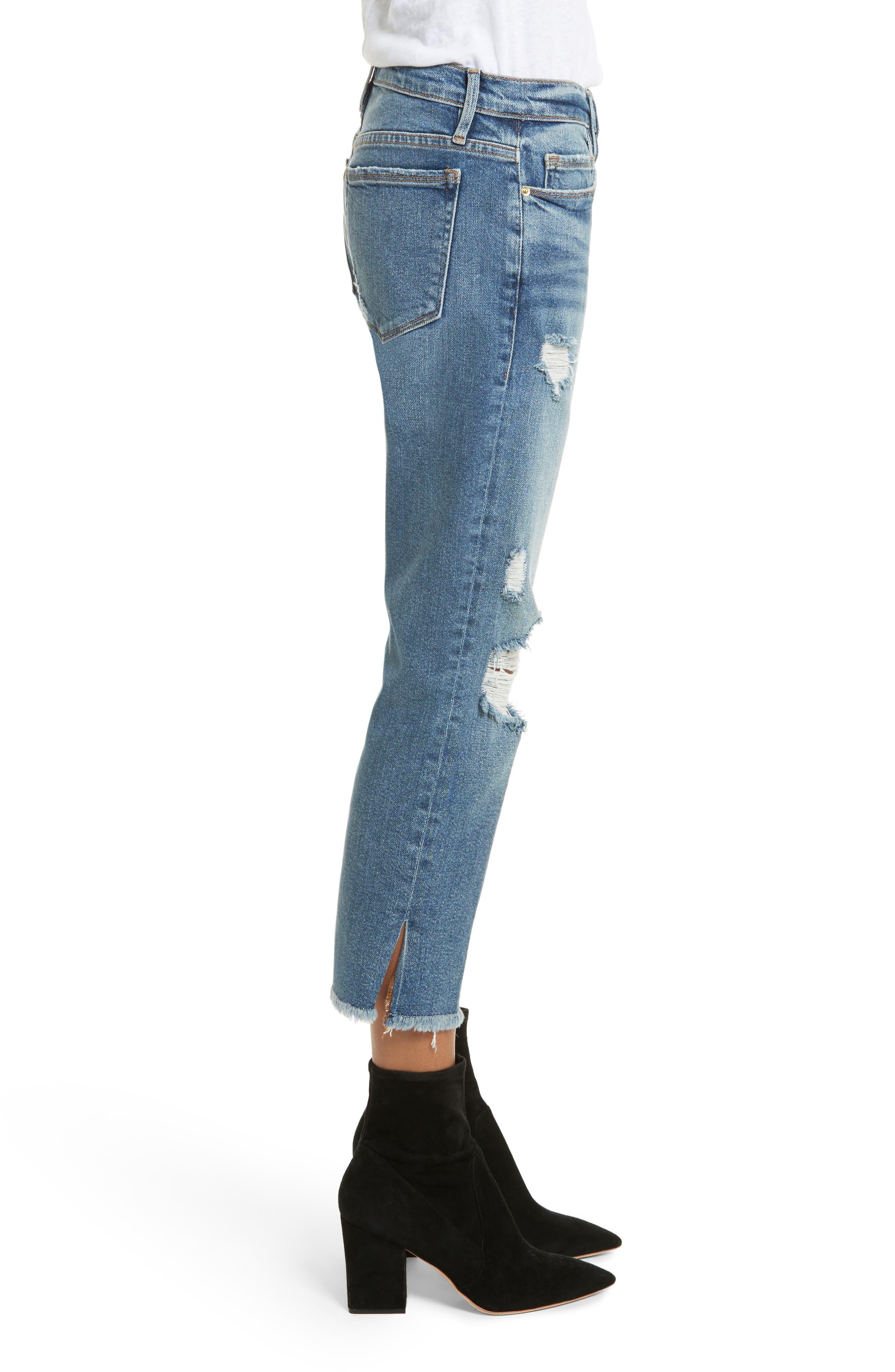 Nouveau Le Straight Raw Hem Jeans,                             Alternate thumbnail 3, color,                             Sackett